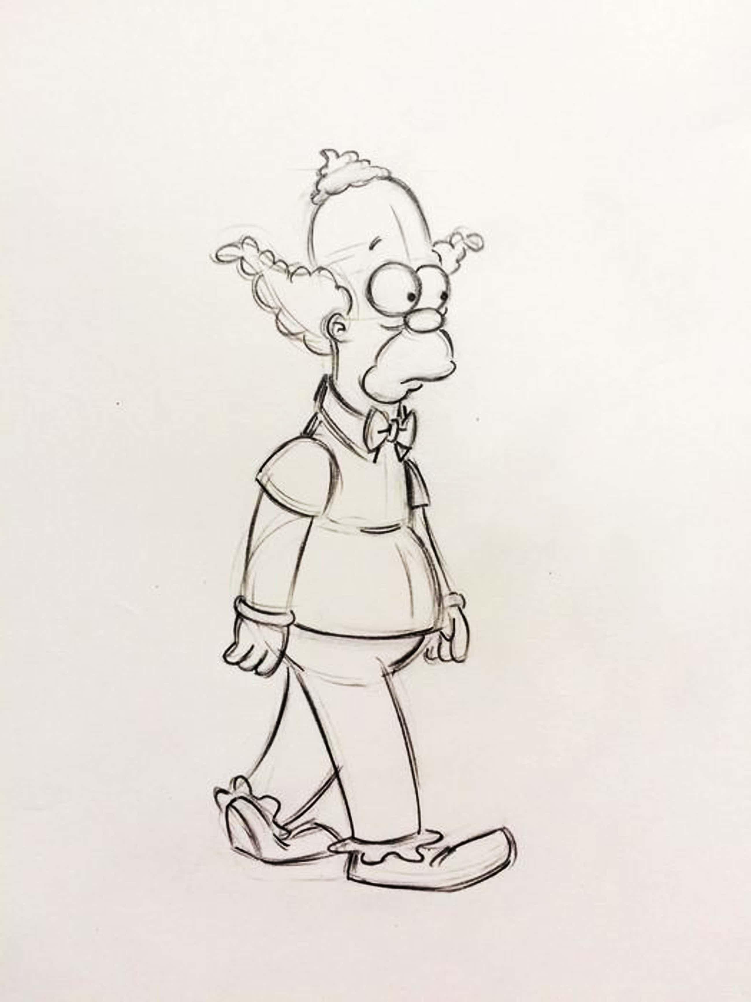 Matt Groening - originele productie tekening, The Simpsons, Krusty The Clown, ingelijst kopen? Bied vanaf 70!