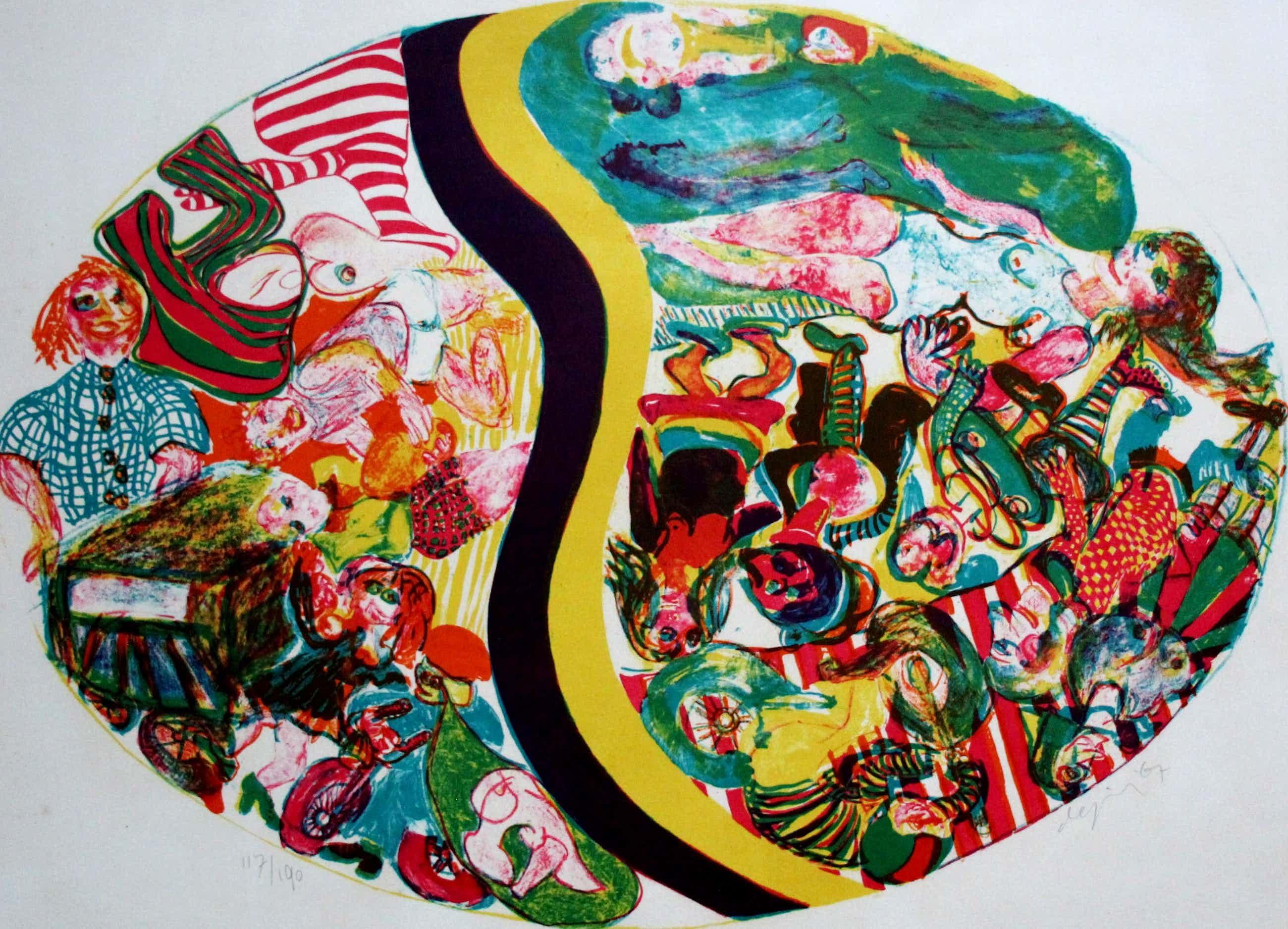 Jacqueline de Jong - Litho: Compositie met veel beeldelementen kopen? Bied vanaf 40!