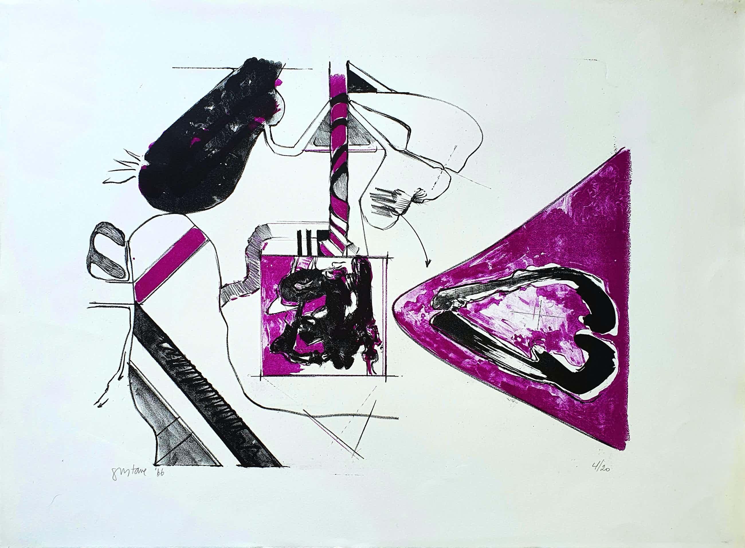 Gustave Asselbergs - Litho, Compositie in paars (1966) kopen? Bied vanaf 65!