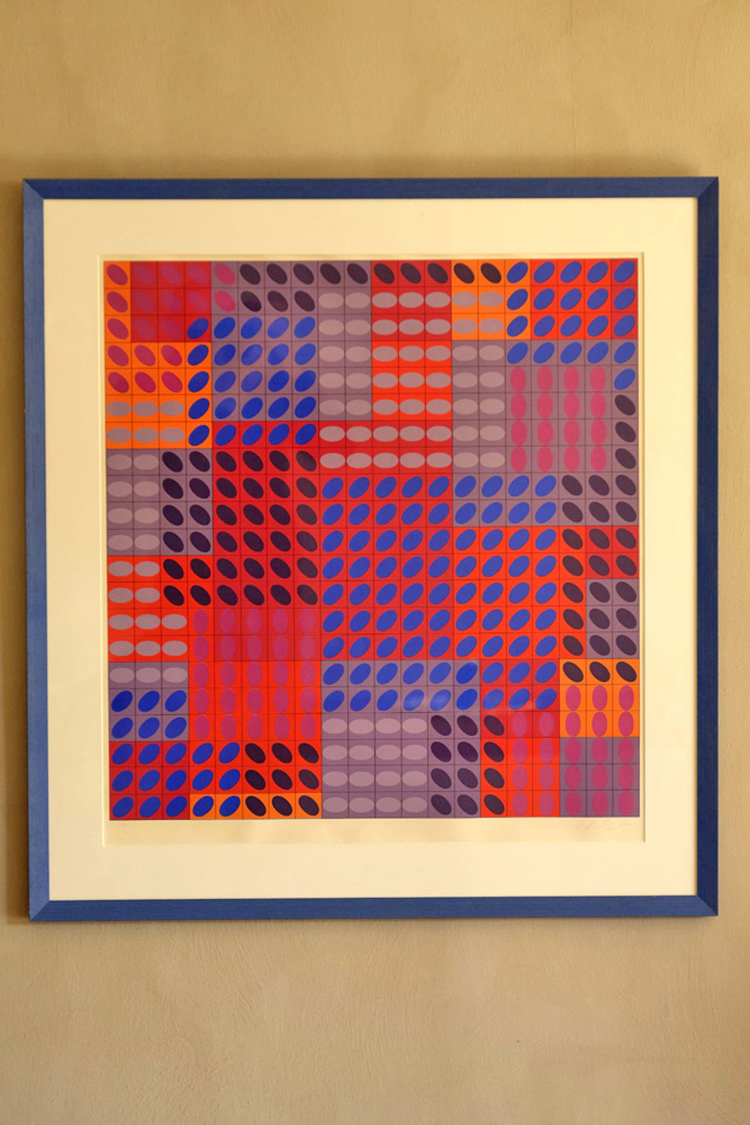 Victor Vasarely - Grote compositie van stippen - kleuren zeefdruk - gesigneerd kopen? Bied vanaf 500!