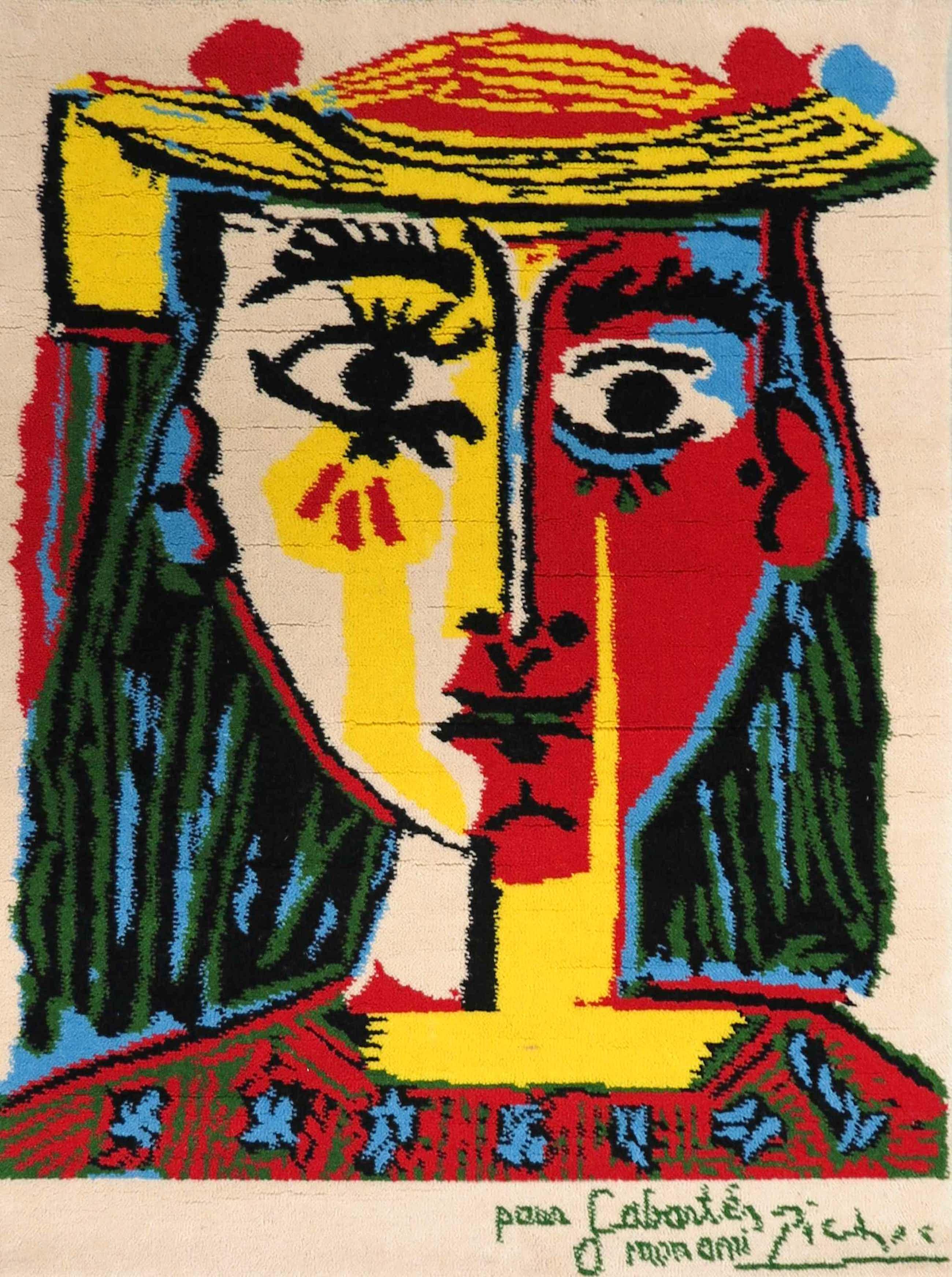 Pablo Picasso - (door Desso Art Collection), Wollen tapijt, Portrait de femme au chapeau (...) kopen? Bied vanaf 700!