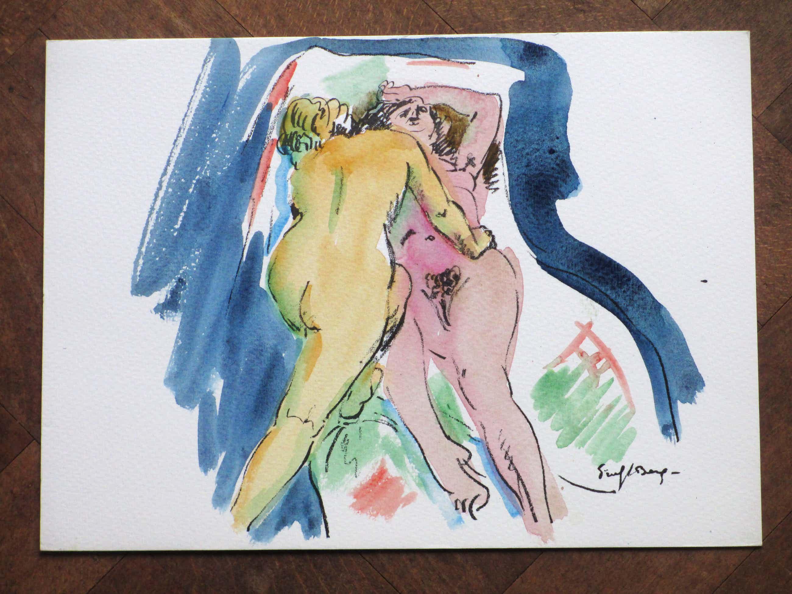 Freek van den Berg - Vriendinnen op het bed - Handgekleurde litho kopen? Bied vanaf 45!