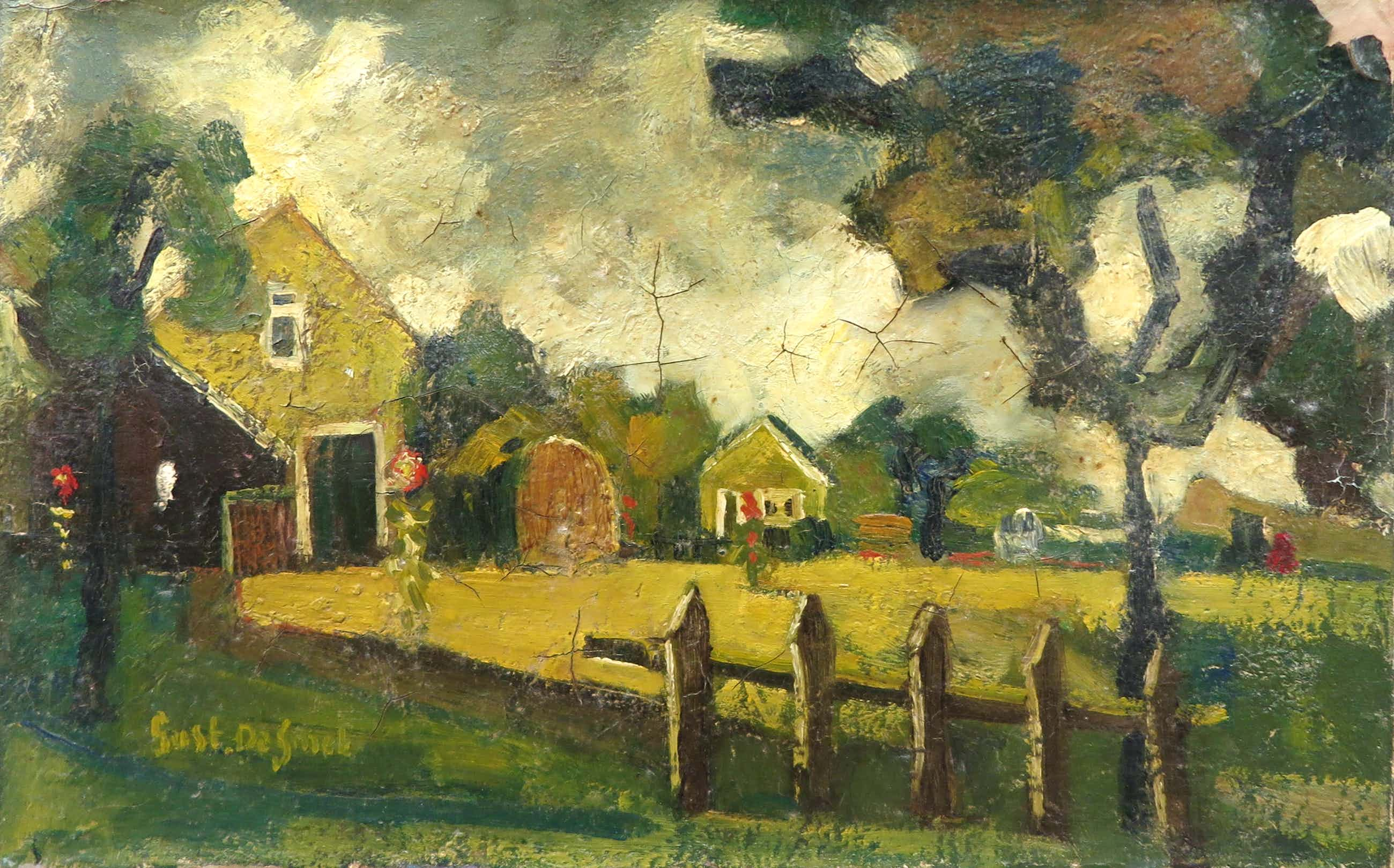 Gustave De Smet - Olieverf op doek, Landschap met boerderijen kopen? Bied vanaf 1800!