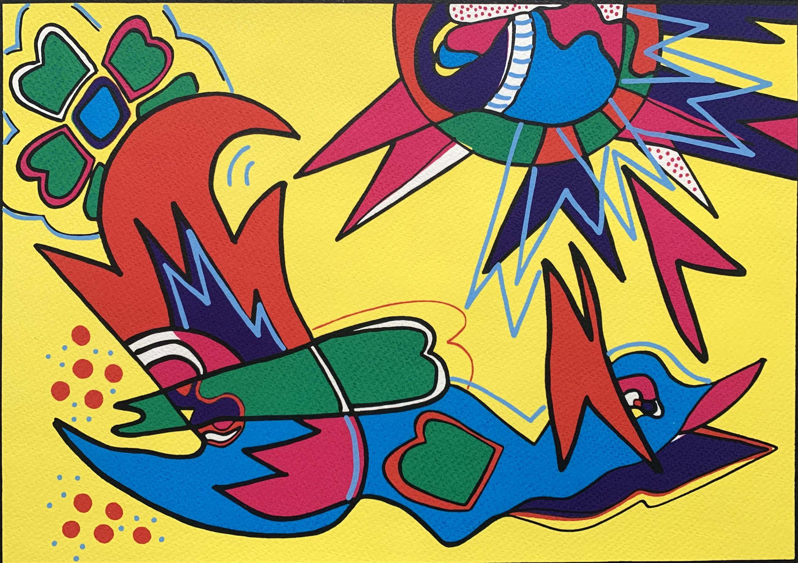Marianne Naerebout - kleurenzeefdruk | 'Early bird' | 1995 kopen? Bied vanaf 80!
