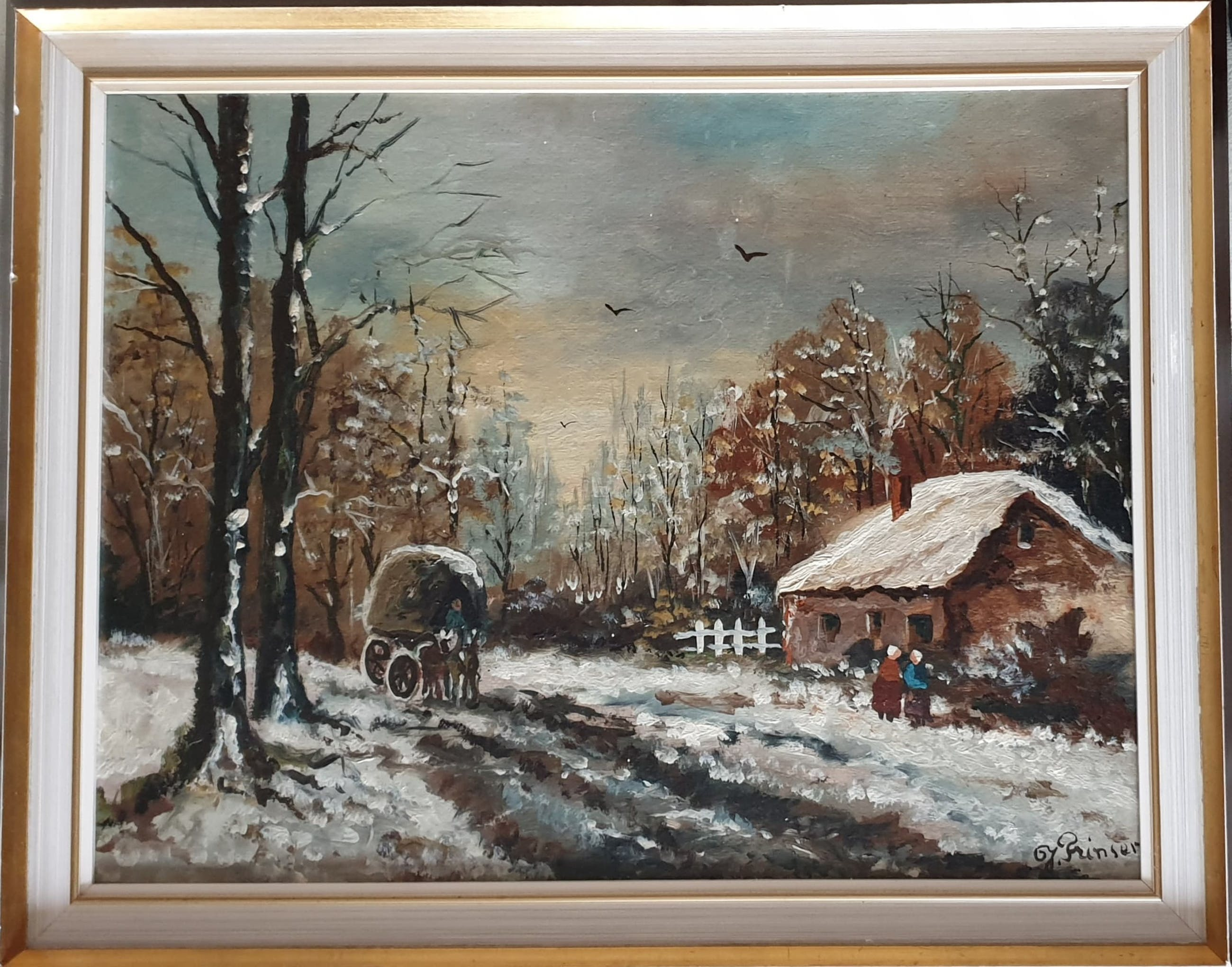 Jan Prinsen - De winterzonsondergang in het bos kopen? Bied vanaf 30!