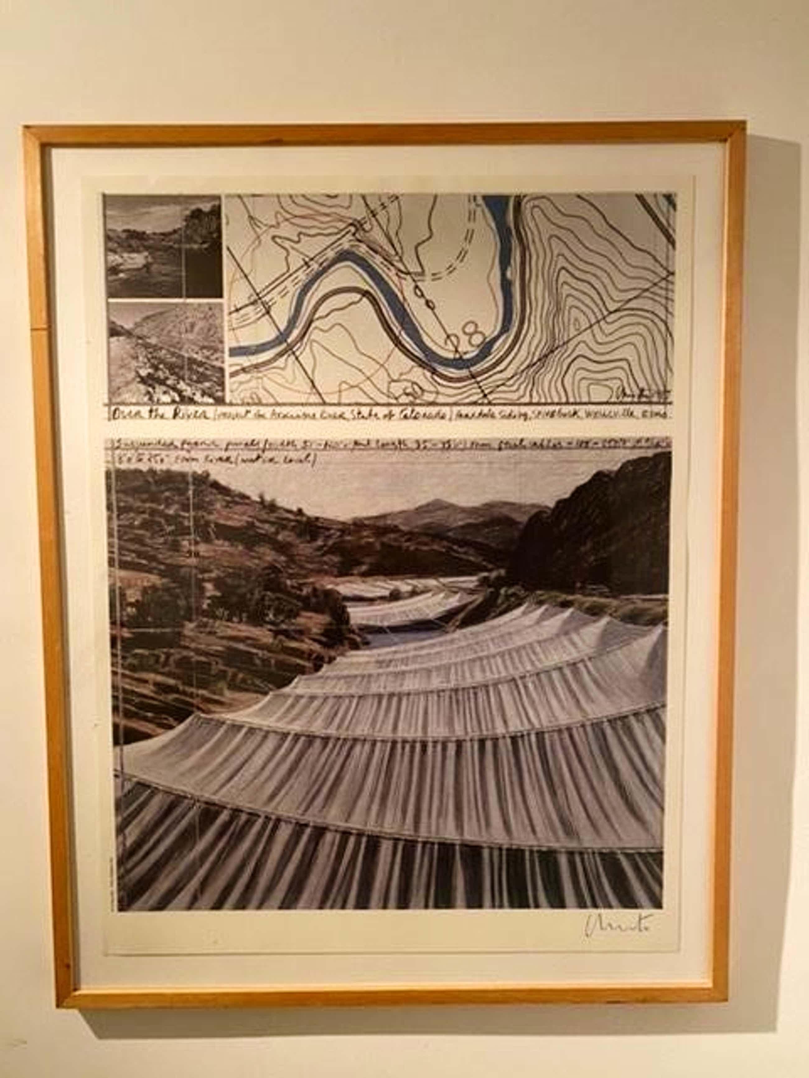 Christo - Over the River - Grote litho ingelijst - Handgesigneerd kopen? Bied vanaf 630!