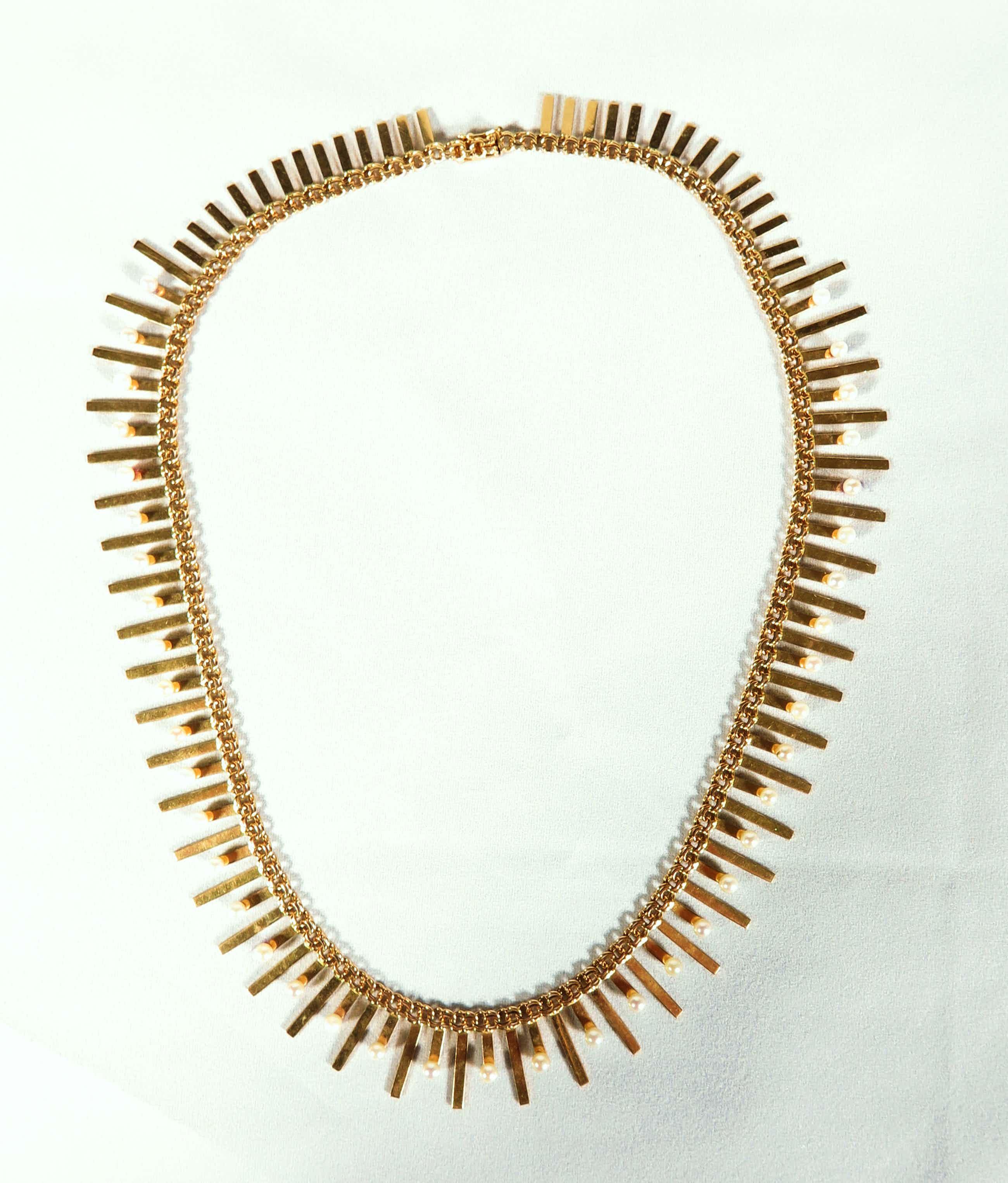 14K Goud - Zeer mooi gouden collier met pareltjes kopen? Bied vanaf 850!