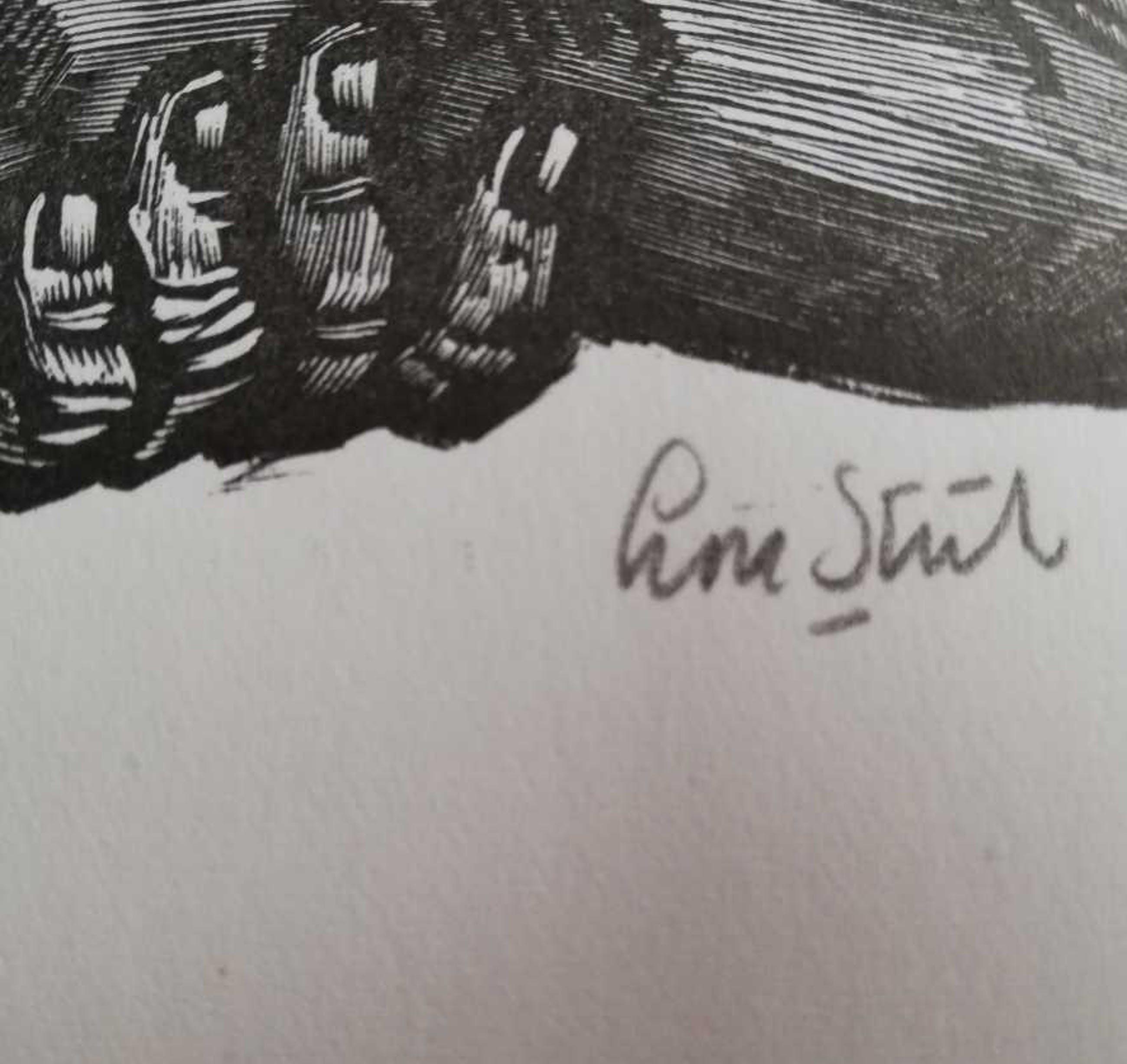 """Lou Strik - """"TOESCHOUWERS"""" / ZW-W LINOSNEDE / 39x54cm / SIG kopen? Bied vanaf 43!"""