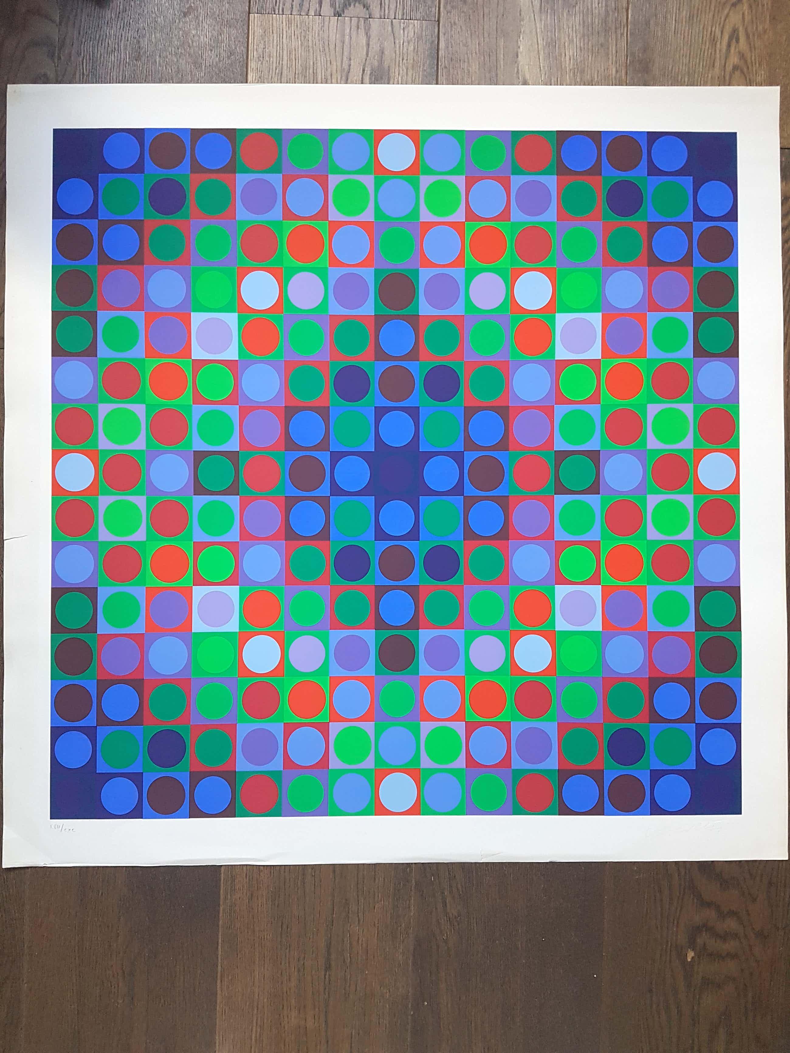 Victor Vasarely - Geometrisch abstracte compositie, zeefdruk (ingelijst) kopen? Bied vanaf 350!