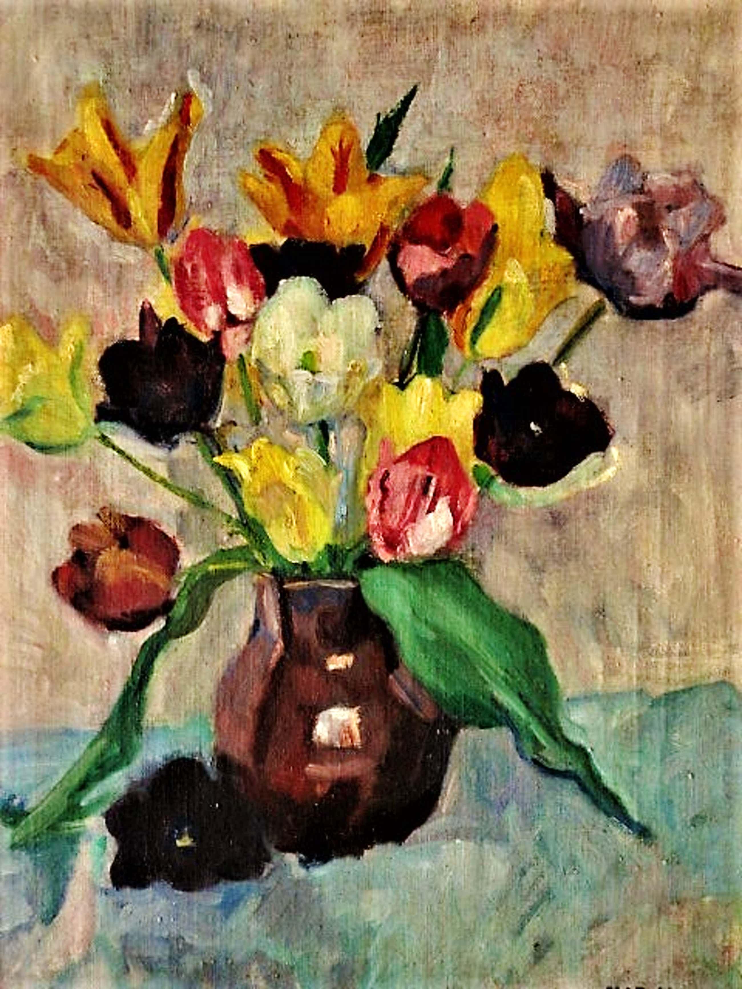 Matthieu Wiegman - Olieverf - Bergense School - circa 1930 - Voorjaarsboeket Tulpen - gesigneerd kopen? Bied vanaf 527!