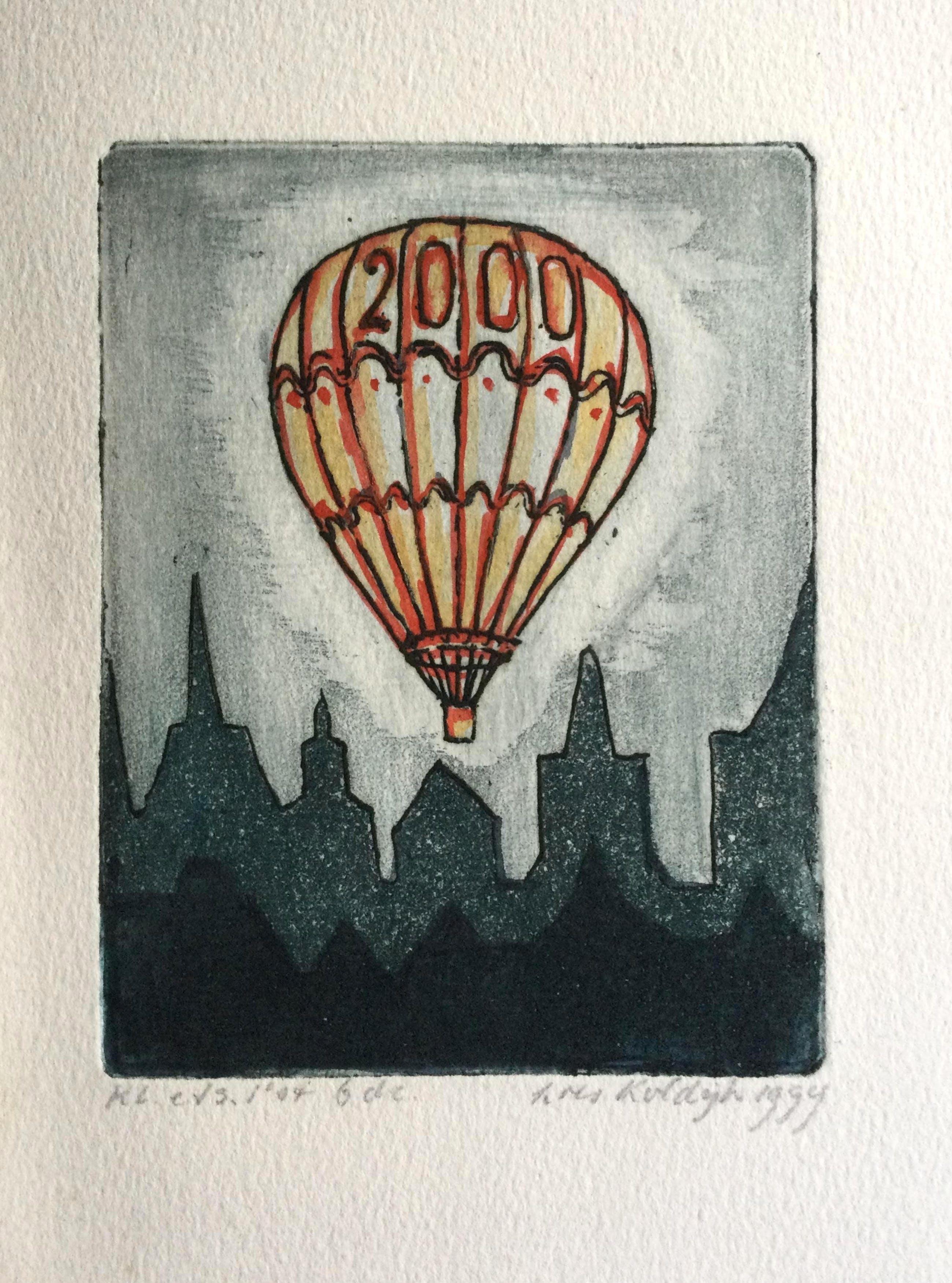 Loes Koldijk-Meyers - luchtballon, ets aquatint 1999 kopen? Bied vanaf 25!