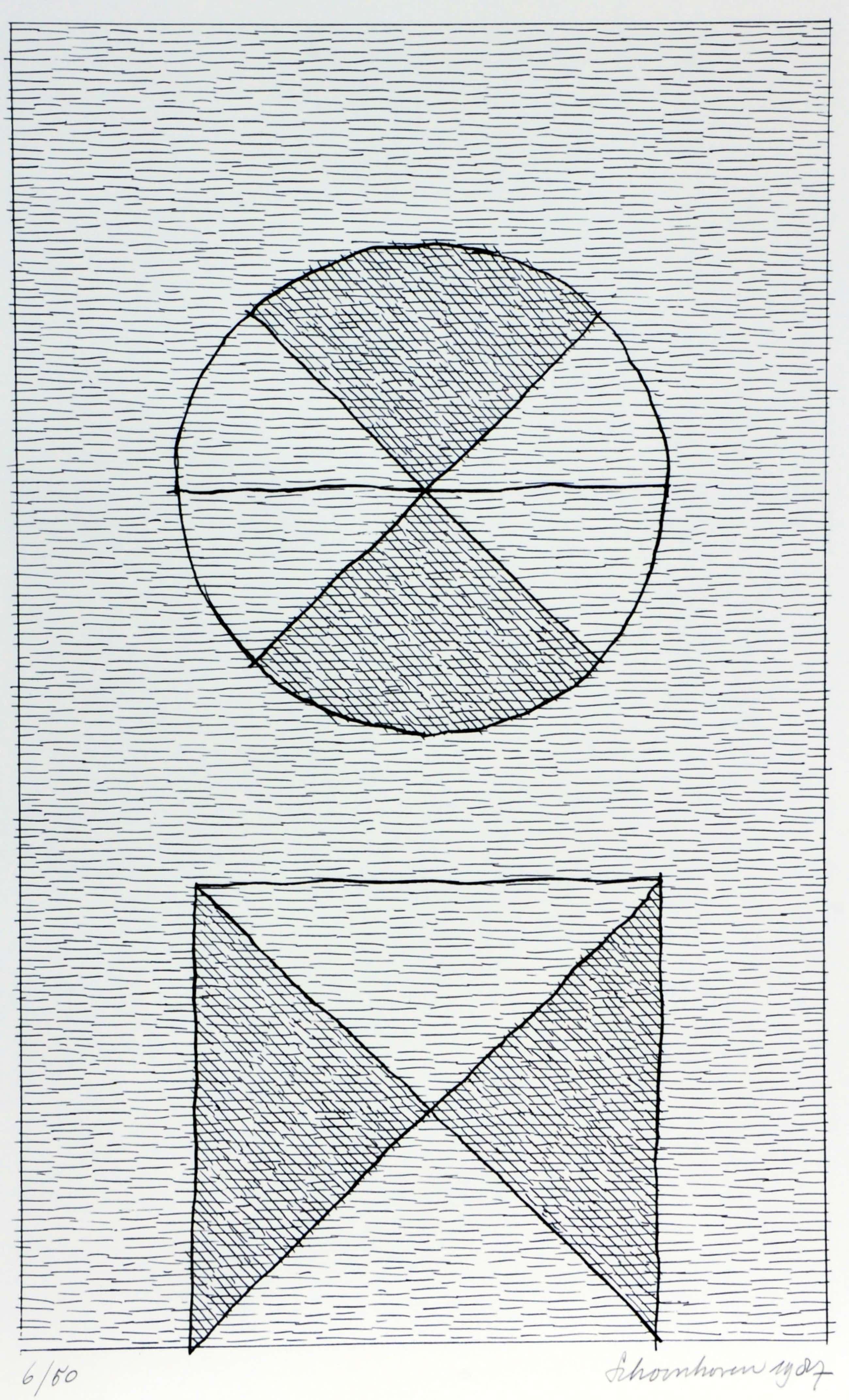 """Jan Schoonhoven - 1 zeefdruk """"Vorm"""" + de originele verzamelmap met teksten kopen? Bied vanaf 350!"""