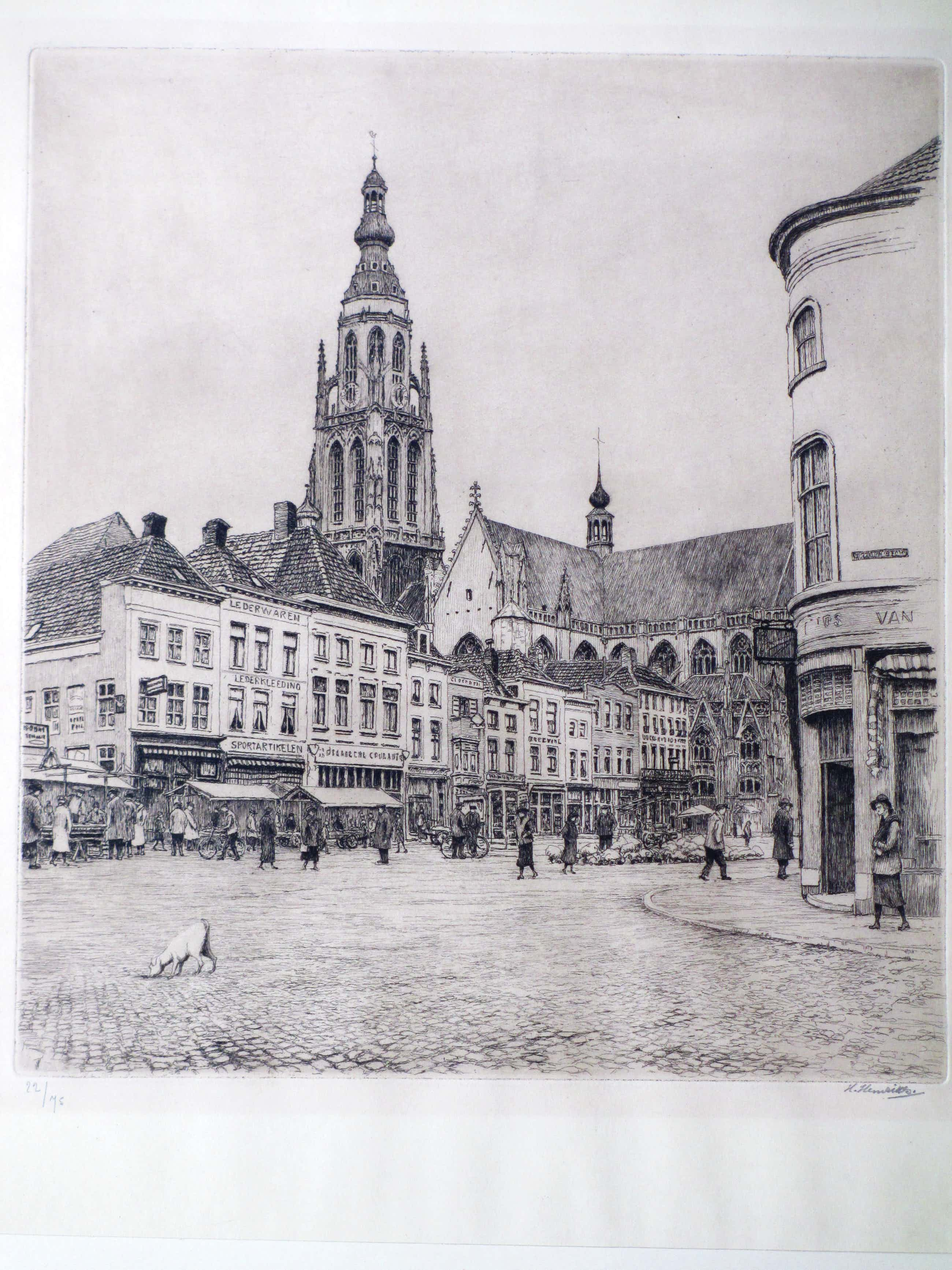 Hendrik Henrichs - Marktdag in Breda - Ets kopen? Bied vanaf 45!