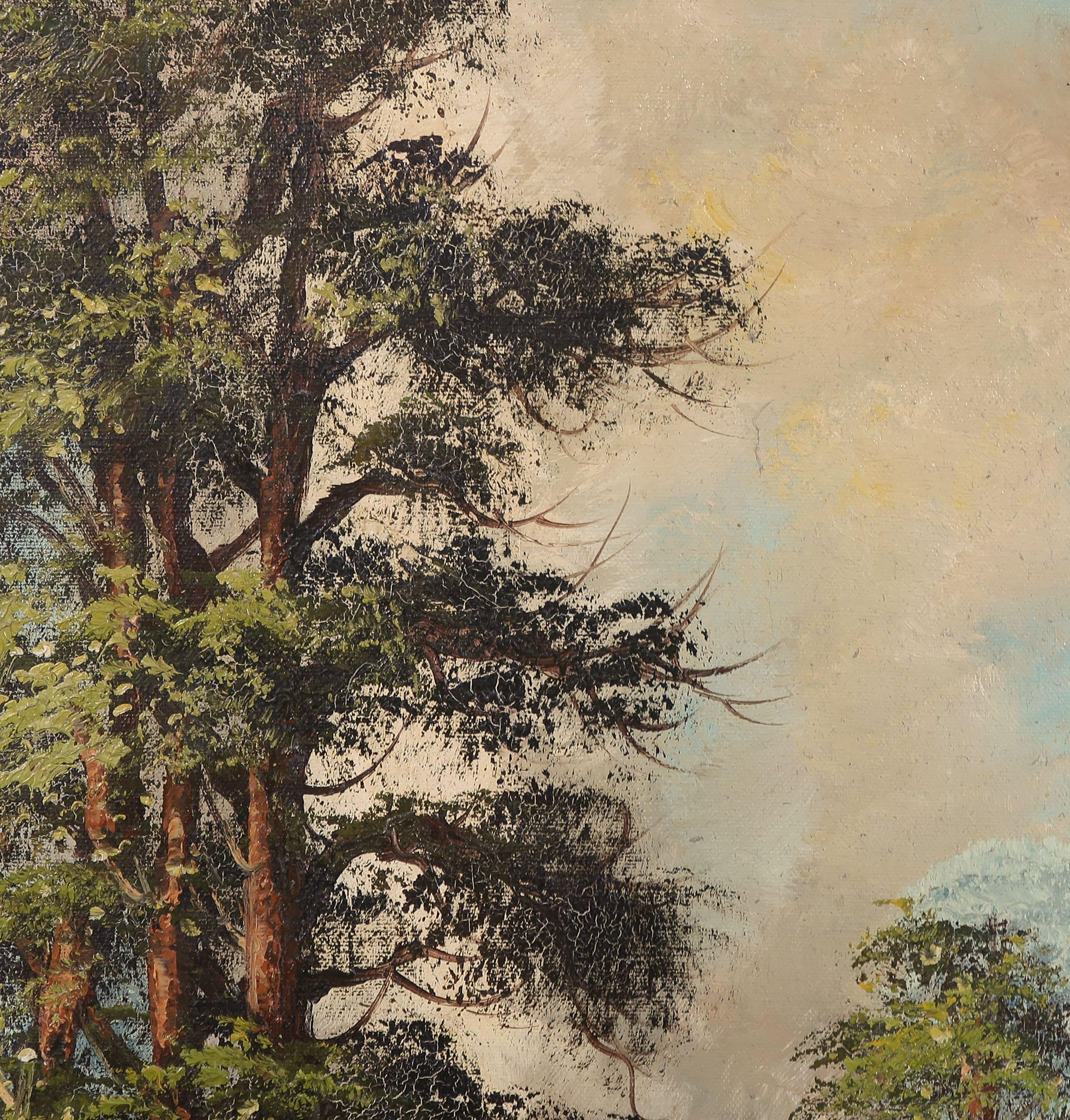 Niet of onleesbaar gesigneerd - Olieverf op doek, Landschap met bomen en water kopen? Bied vanaf 1!