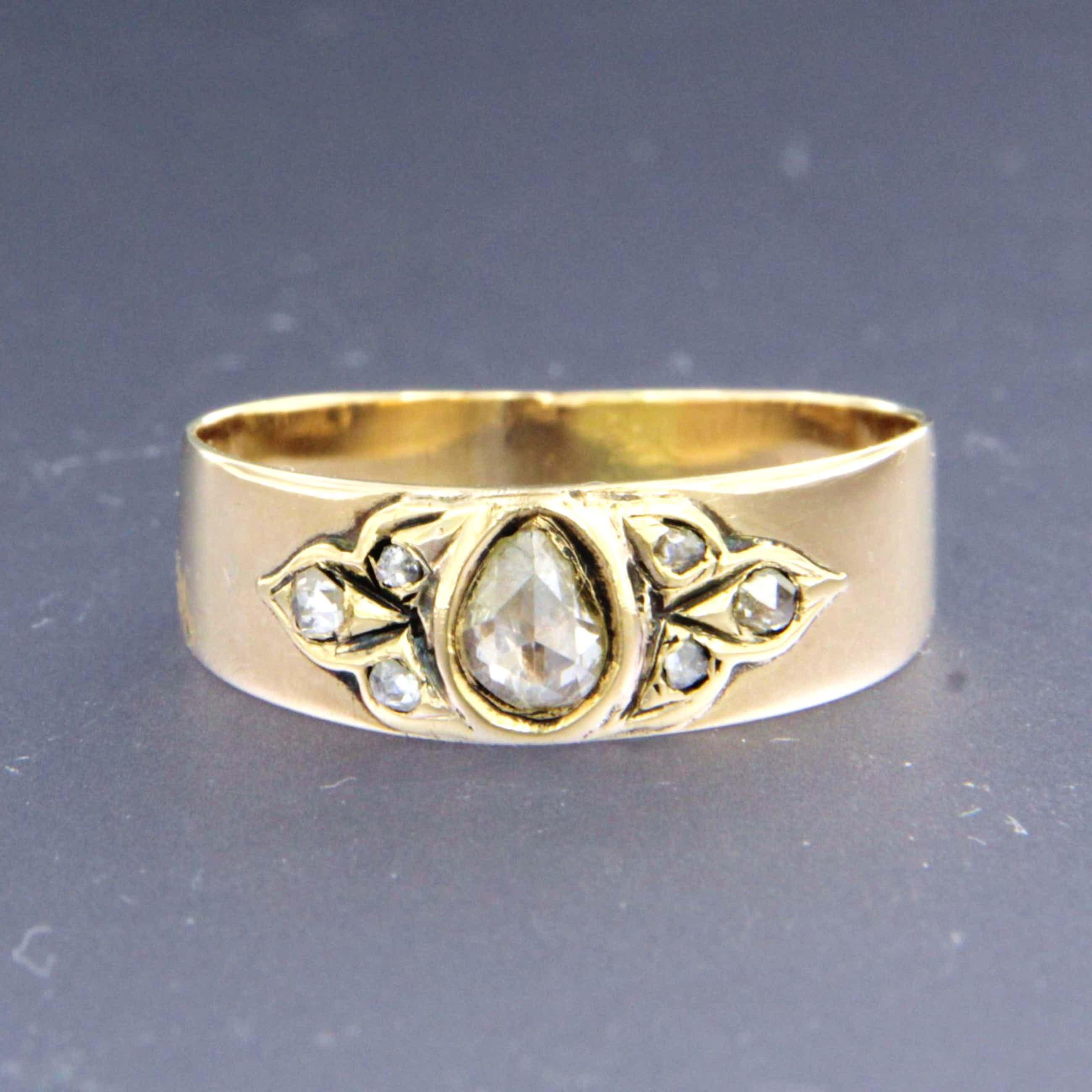 14K Goud - ring bezet met roos cut diamanten, ringmaat 17.25 (54) kopen? Bied vanaf 120!