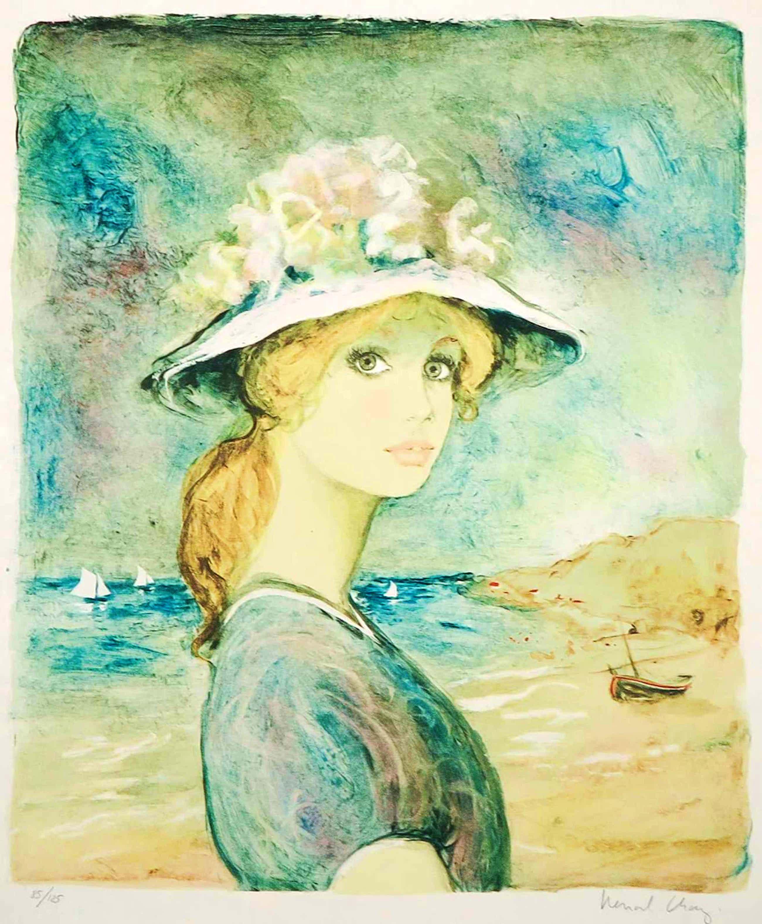 Bernard Charoy - Litho, Meisje op het strand kopen? Bied vanaf 16!