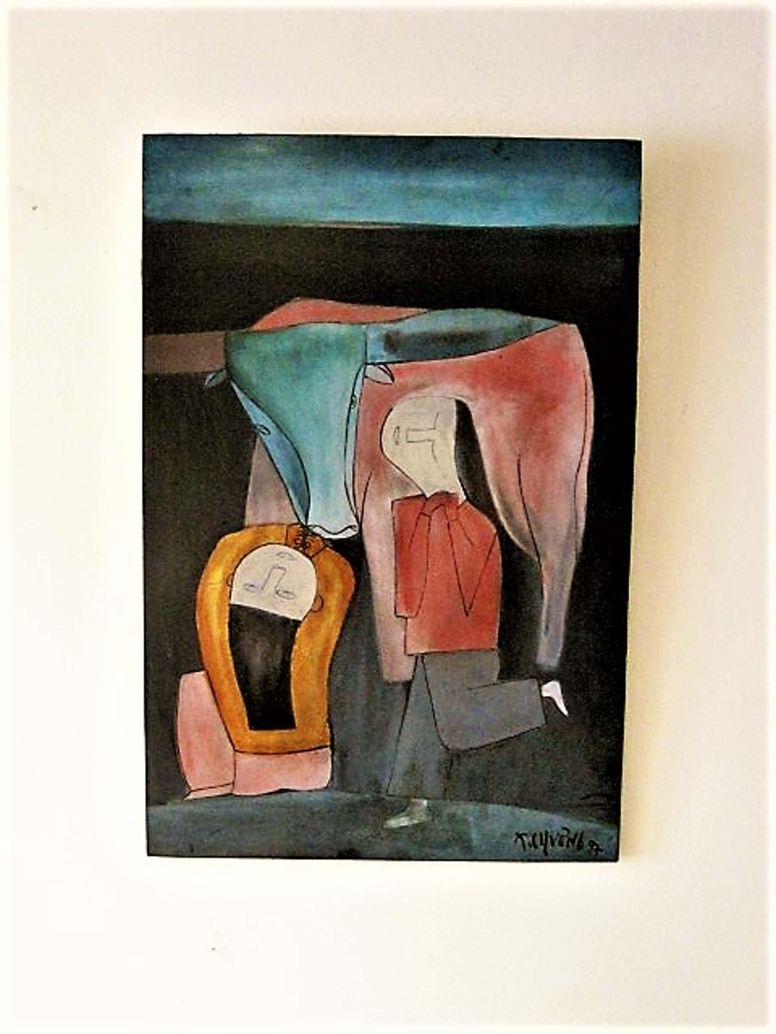 "Thanh Chuong - Vietnam - Hanoi school of Art - lakwerk - ""playing with the Buffalo"" gesigneerd kopen? Bied vanaf 60!"