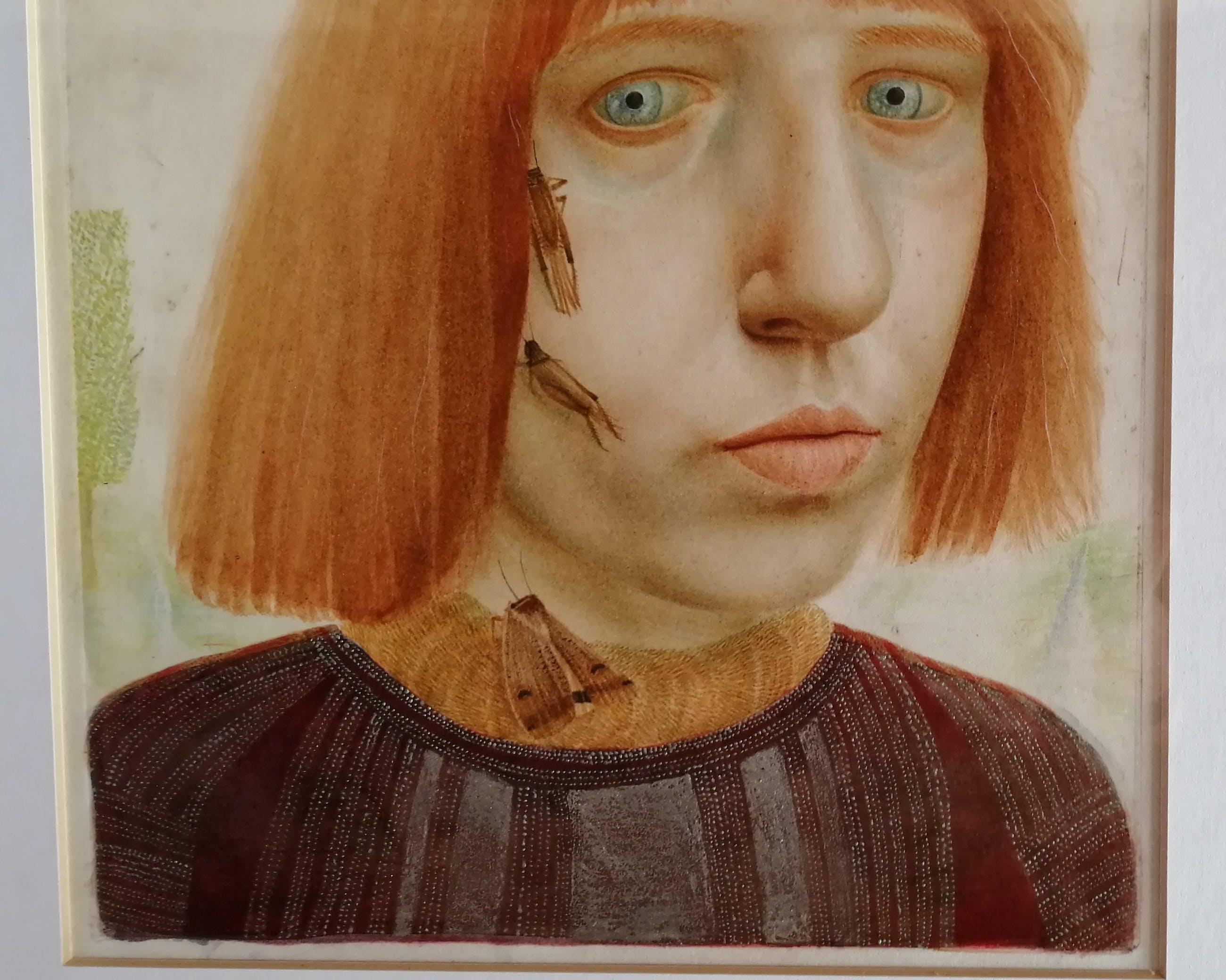 Anneke van Brussel - Zelfportret met vlinders en sprinkhanen kopen? Bied vanaf 400!