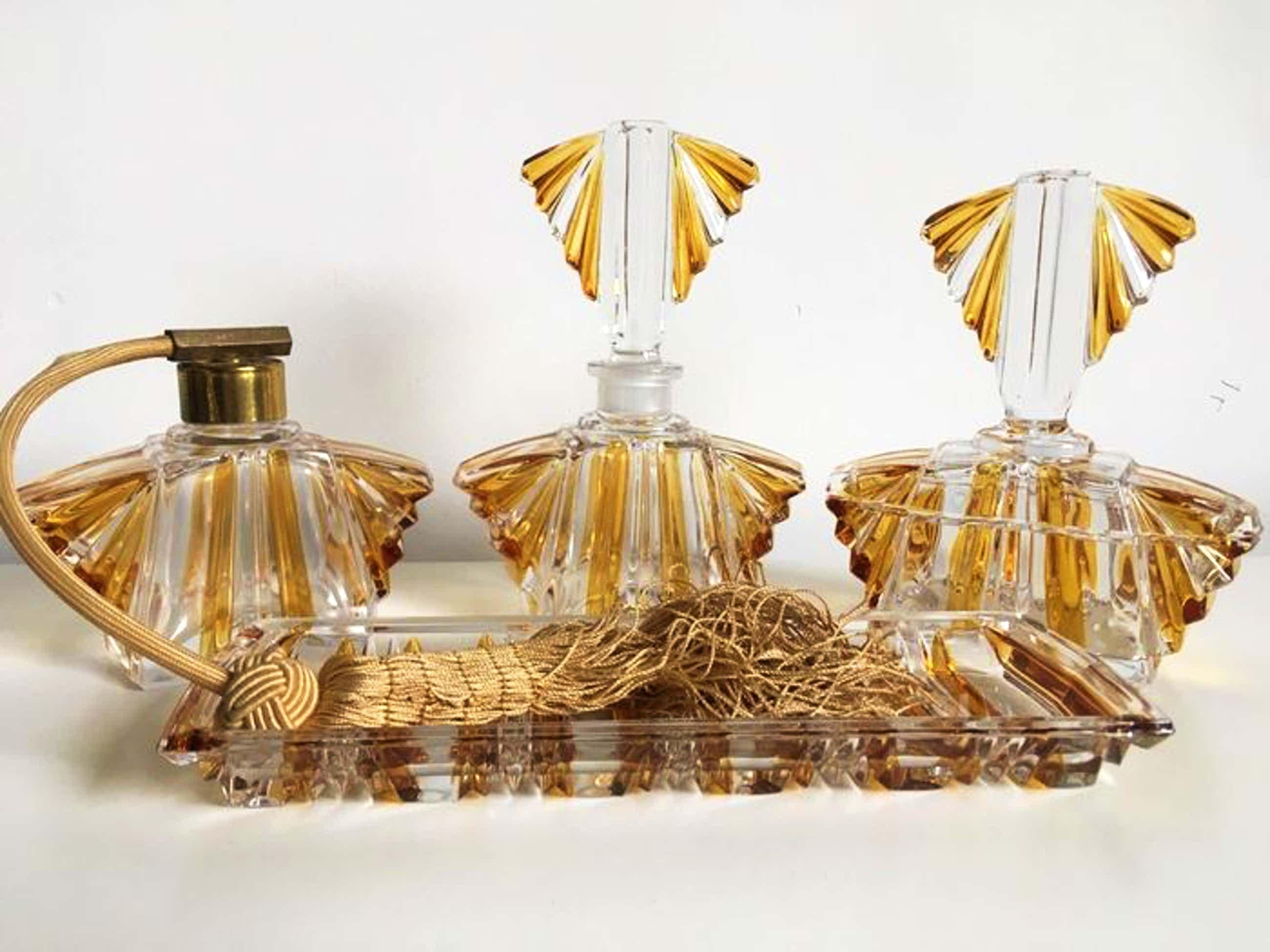 Val-Saint-Lambert - Art Deco kristallen toiletset kopen? Bied vanaf 45!