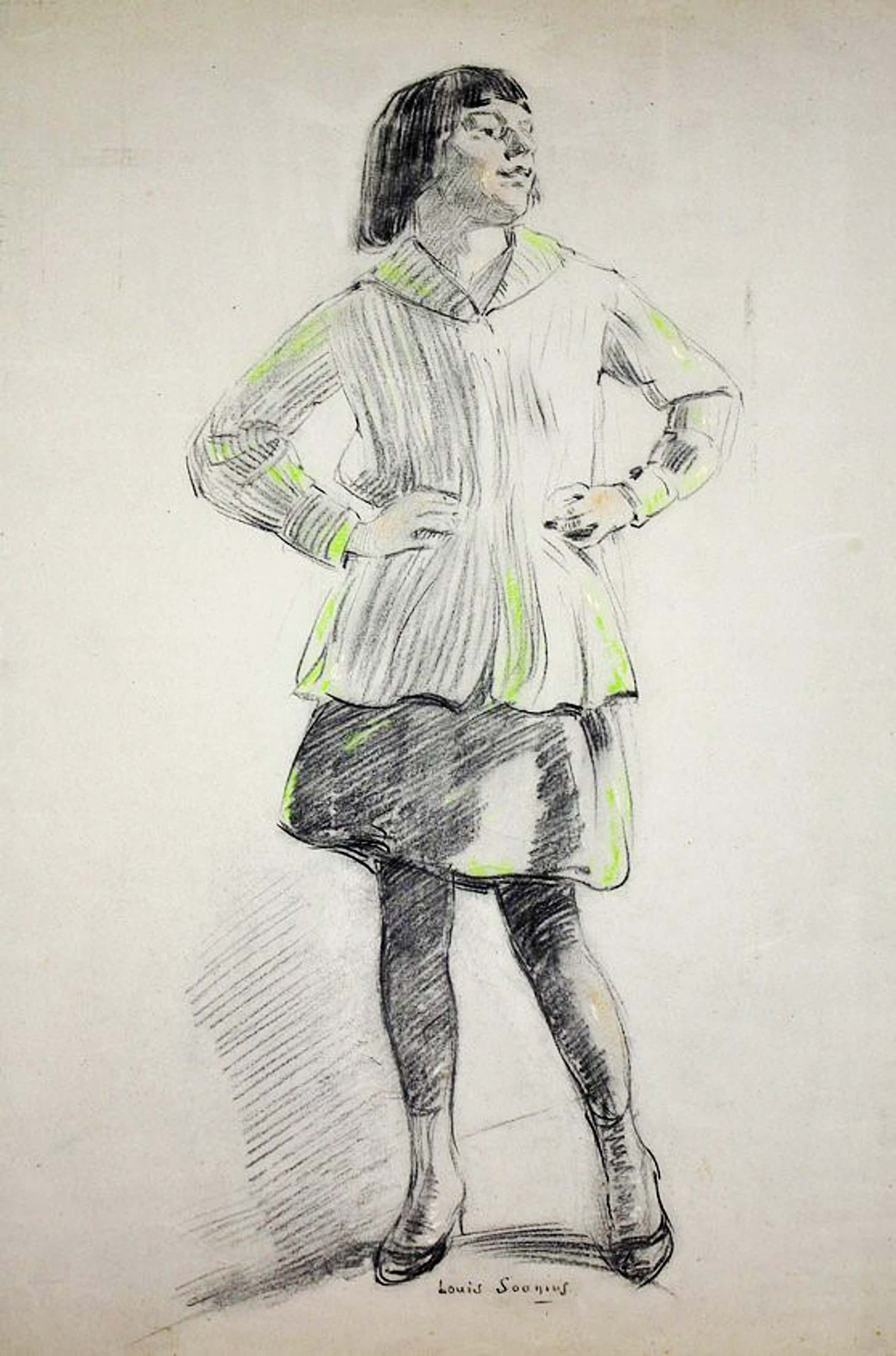 Louis Soonius - Portret van een staand meisje kopen? Bied vanaf 160!