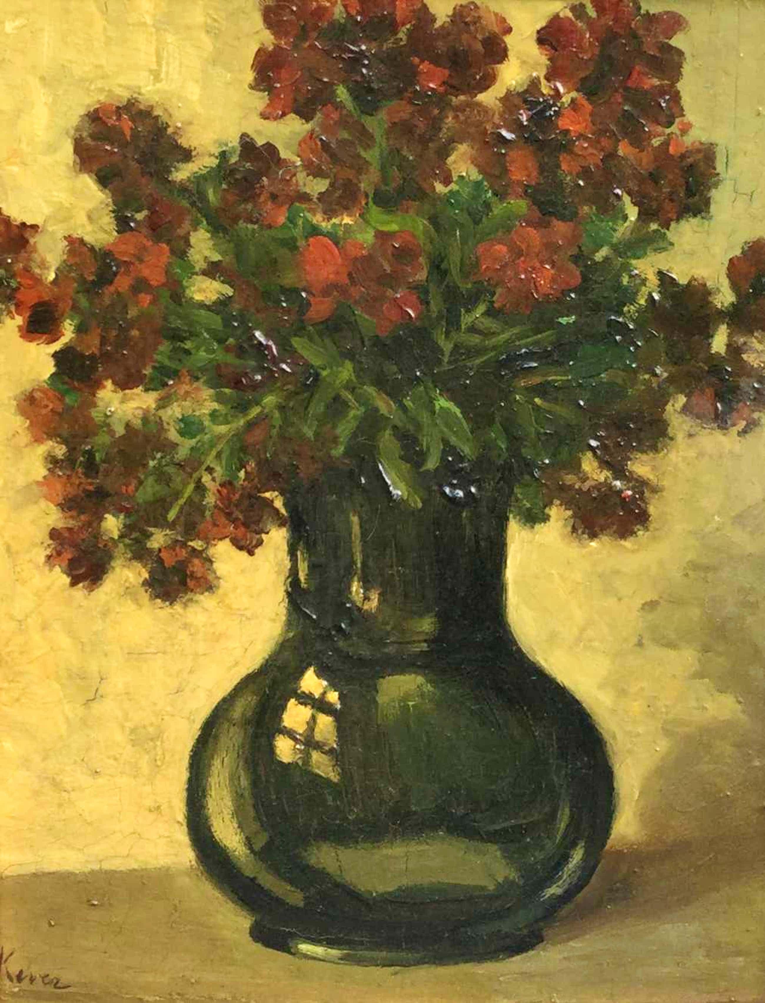 Hein Kever - B9645, Stilleven met rode bloemen in zwarte vaas kopen? Bied vanaf 200!
