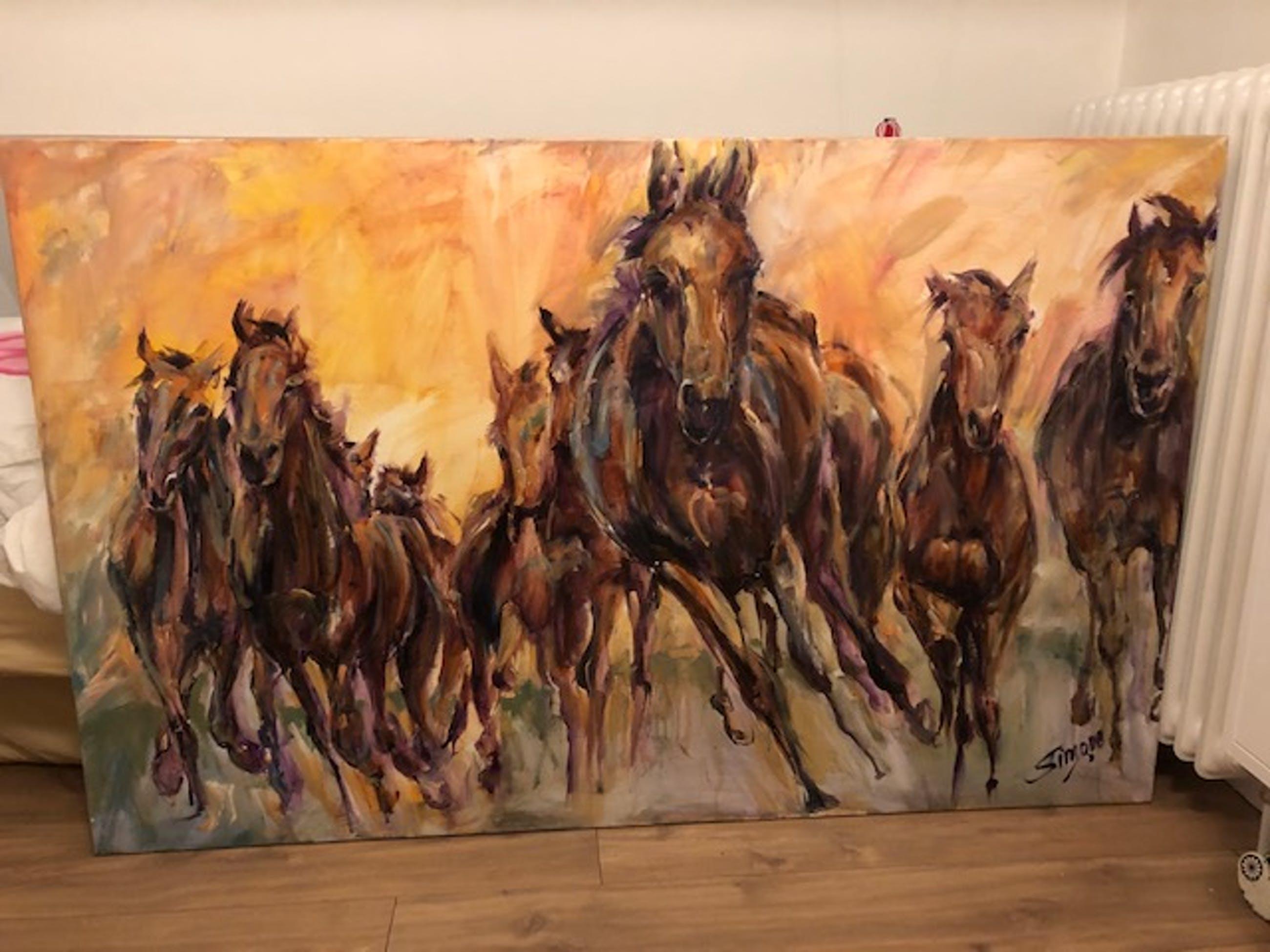 Simone Theelen - Running Horses kopen? Bied vanaf 1750!