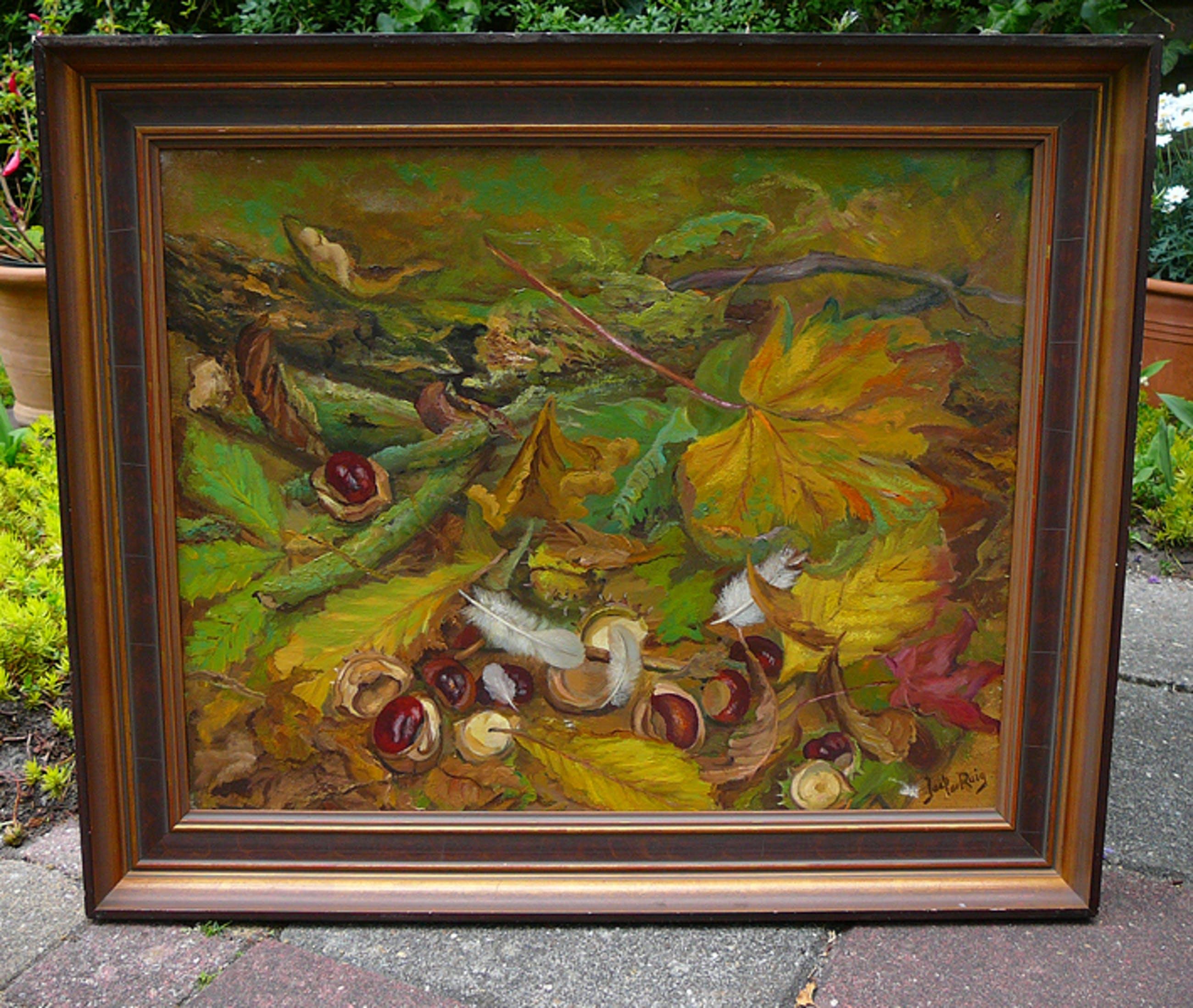 Jaap de Ruig - Wilde kastanjes, veertjes en vallende bladeren -olieverf- kopen? Bied vanaf 1!
