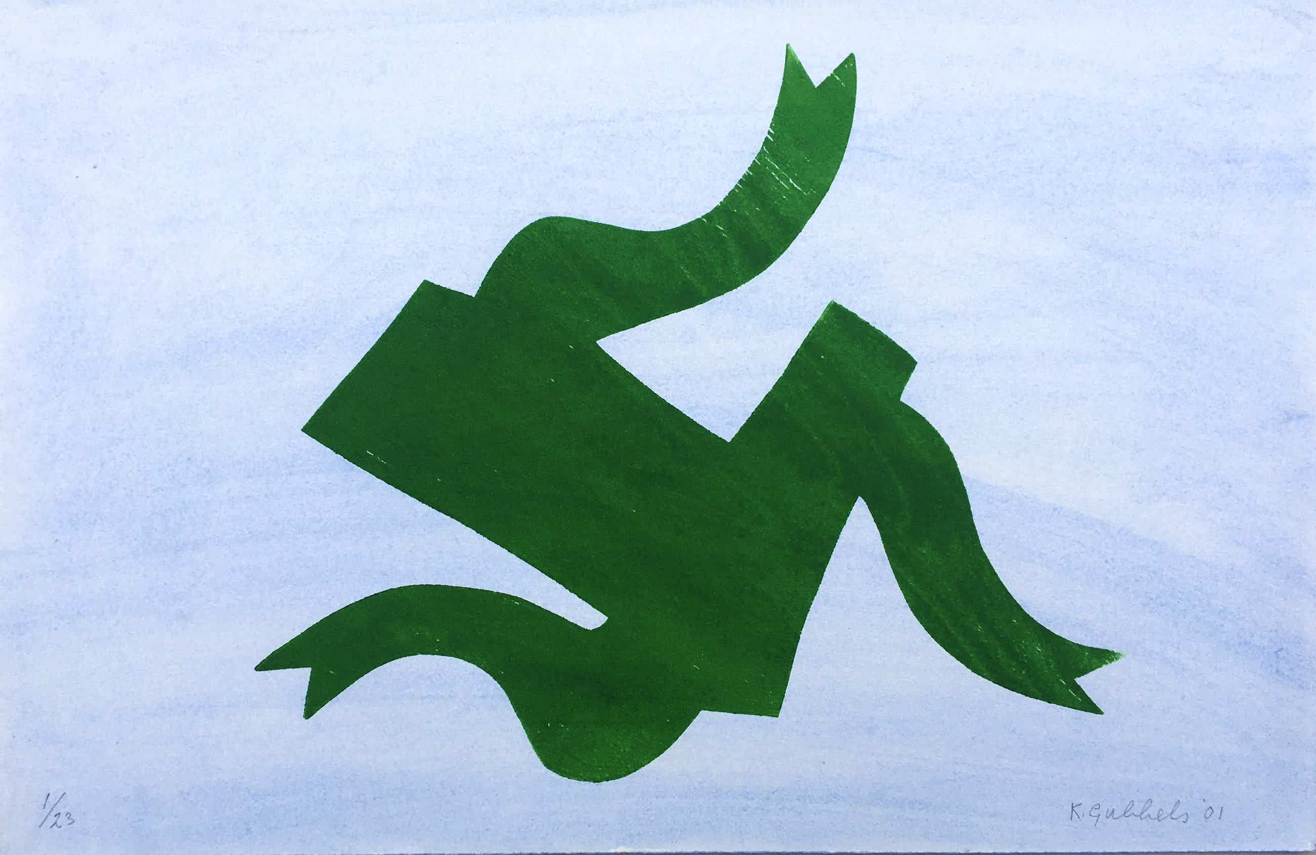 Klaas Gubbels - 'De Loper' - houtdruk met aquarel ondergrond - 2001 kopen? Bied vanaf 375!