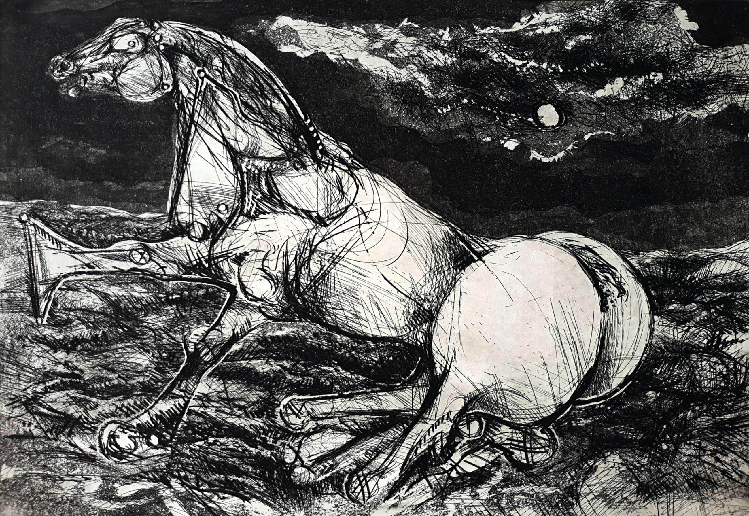 Willem Snitker - Paard in woest landschap, aquatint ets kopen? Bied vanaf 45!