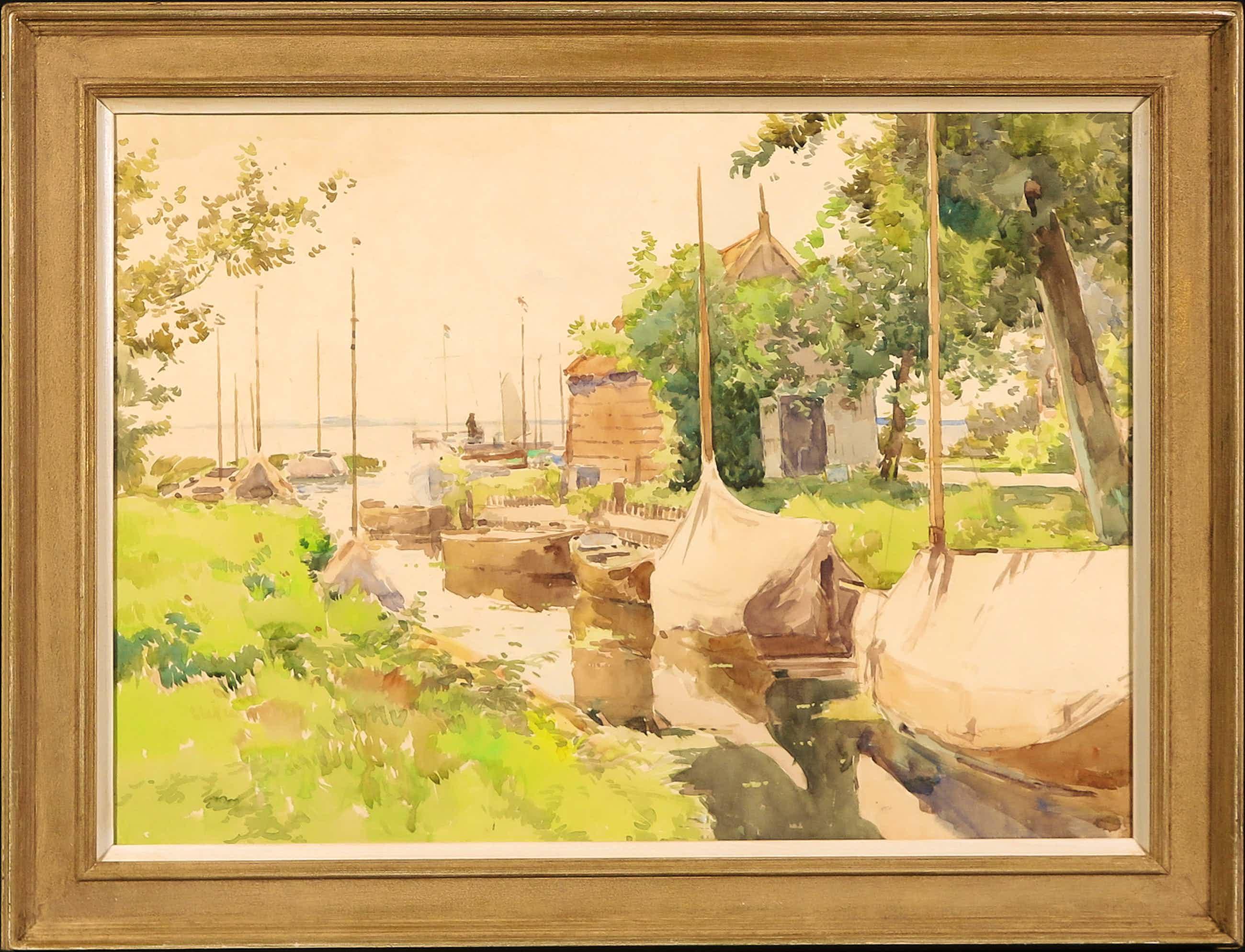 Cornelis Vreedenburgh - Aquarel, Aangemeerde boten - Ingelijst kopen? Bied vanaf 750!