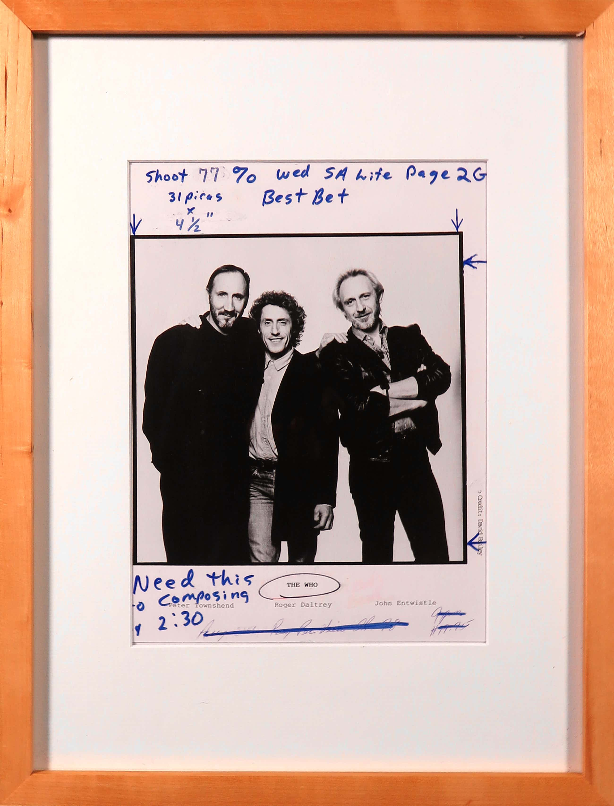 David Bailey - Foto, The Who met aantekening van redactie van een Magazine kopen? Bied vanaf 40!