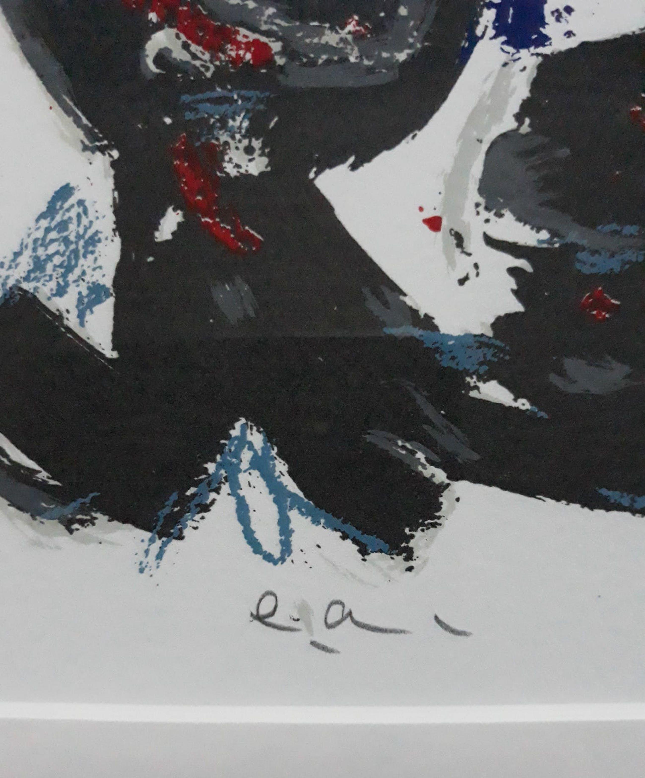 Theo Wolvecamp - Abstracte compositie, litho (mooi ingelijst) kopen? Bied vanaf 225!