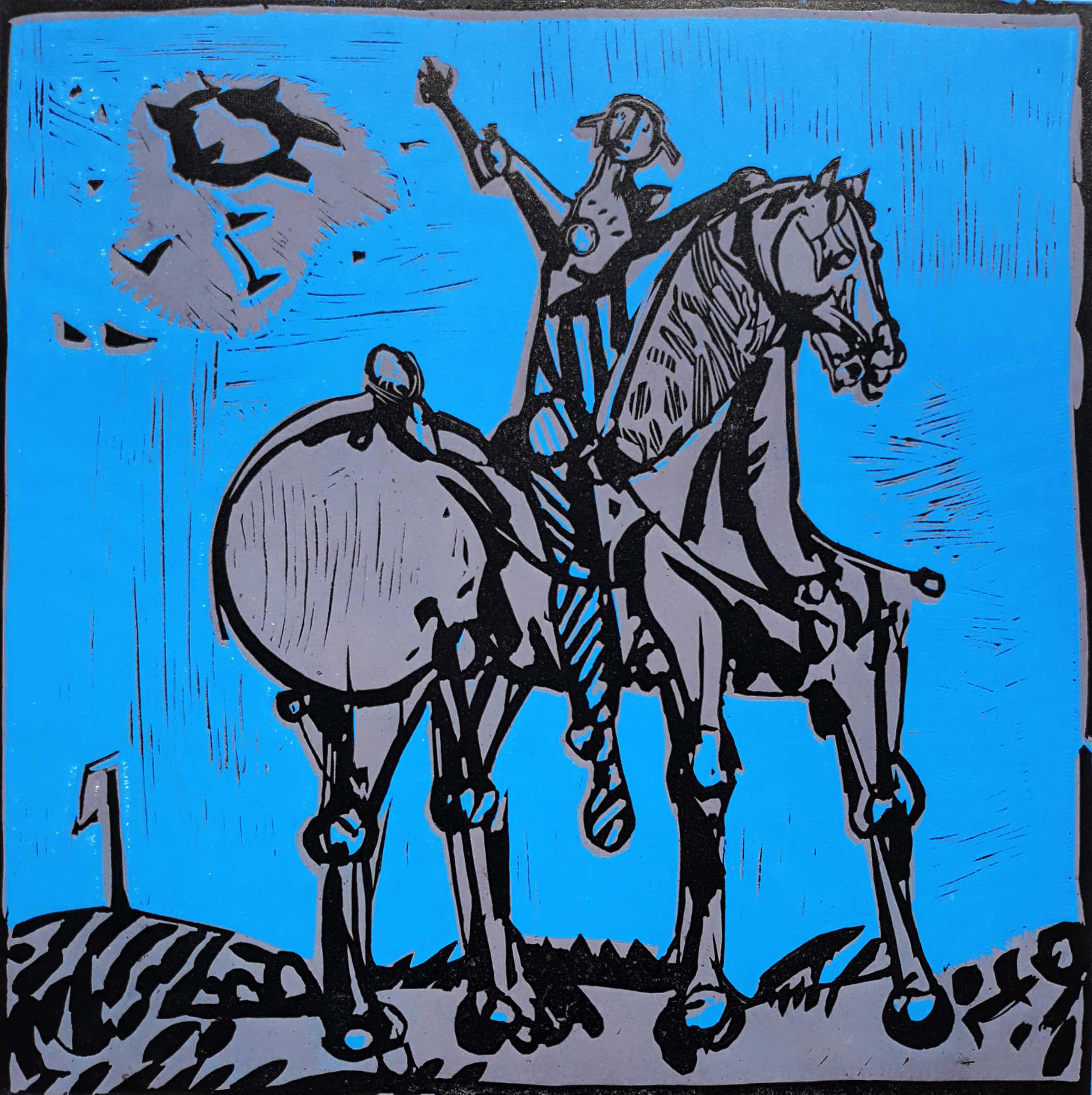 Willem Snitker - Don Quichot, linosnede kopen? Bied vanaf 48!