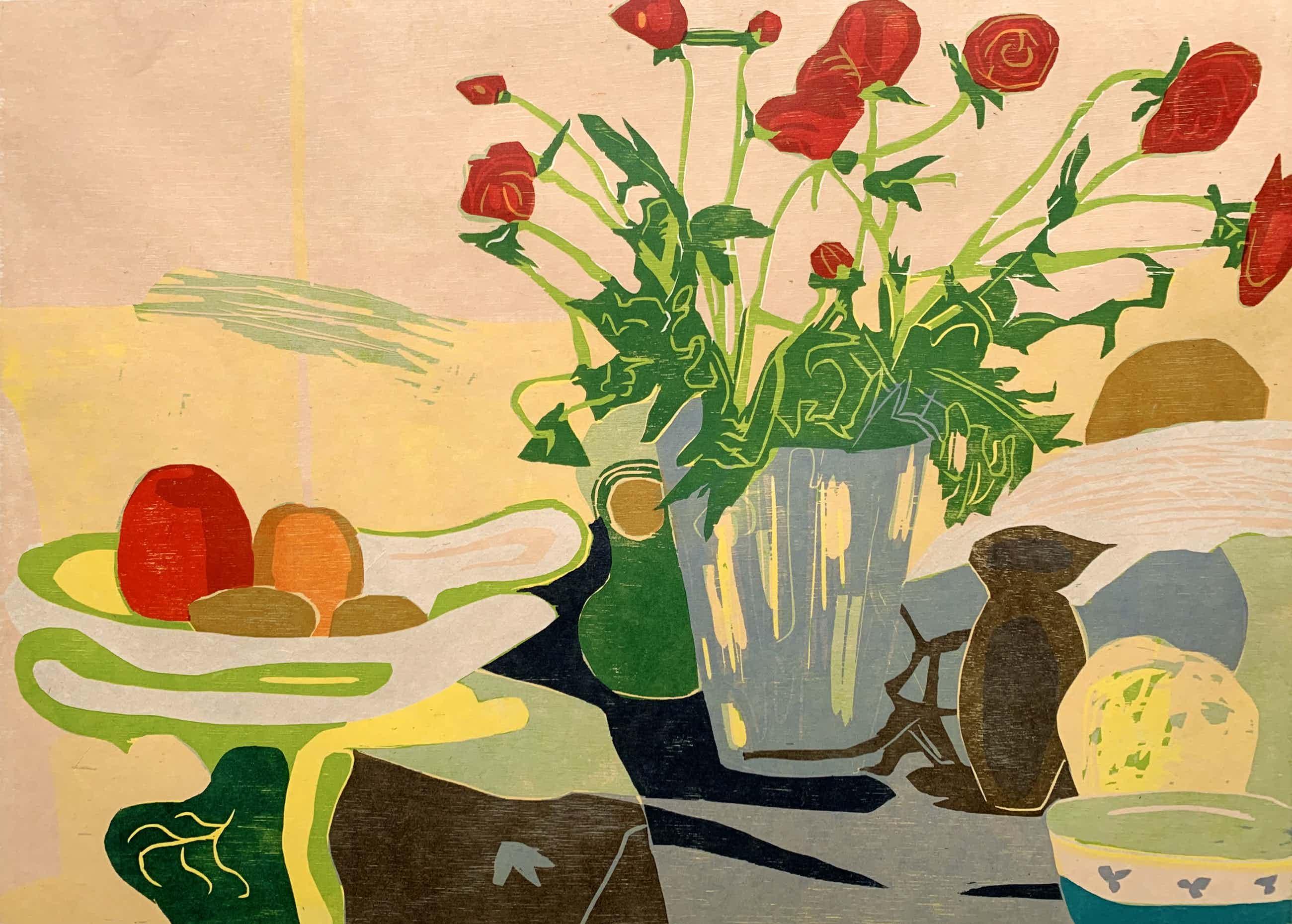 Vincent van Ojen - kleurenhoutsnede - 'Vaas met rozen' - 1991 (Zeer kleine oplage, groot werk!) kopen? Bied vanaf 185!