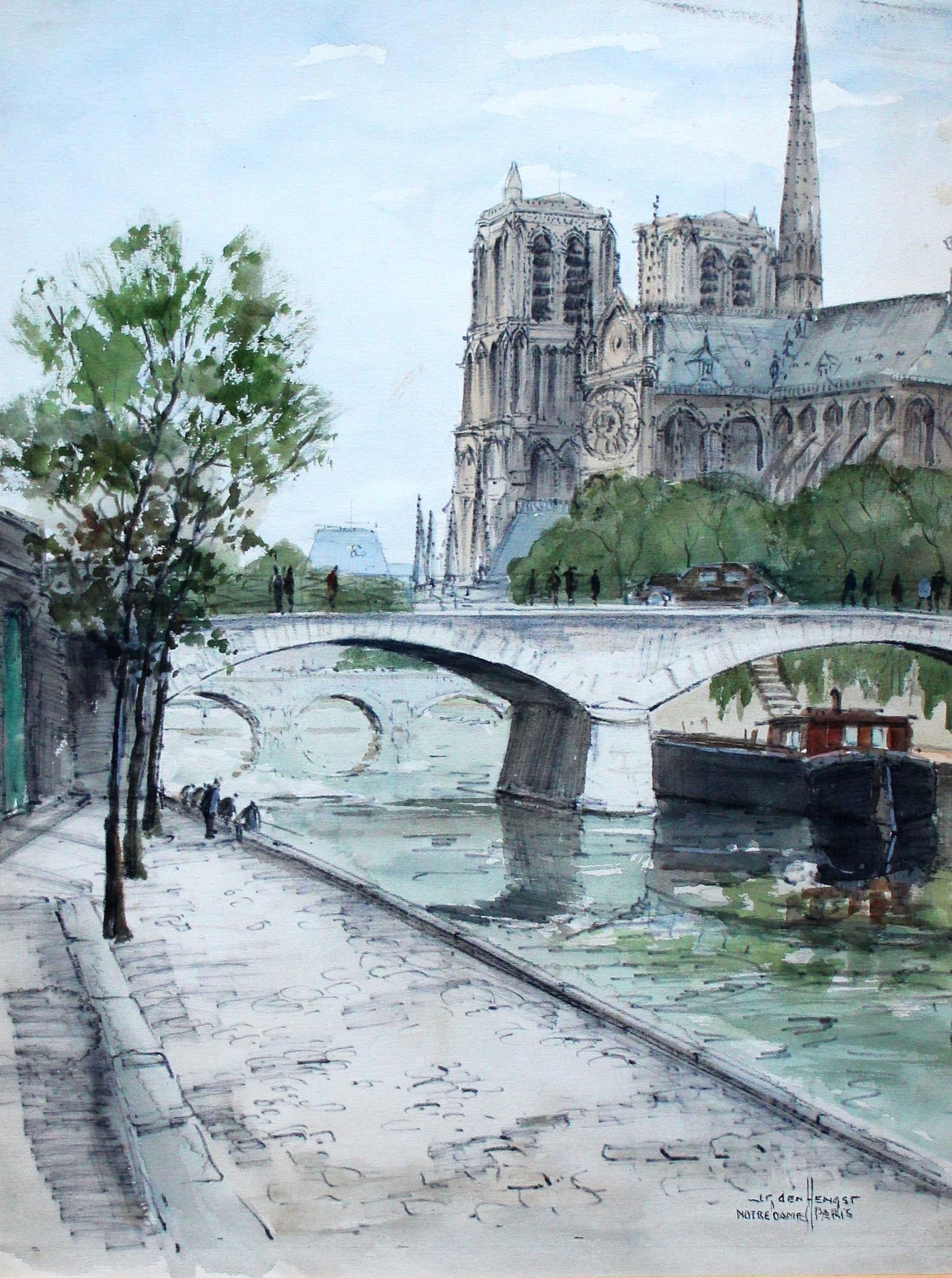 Jan den Hengst - ingelijste aquarel: Notre Dame te Parijs kopen? Bied vanaf 125!