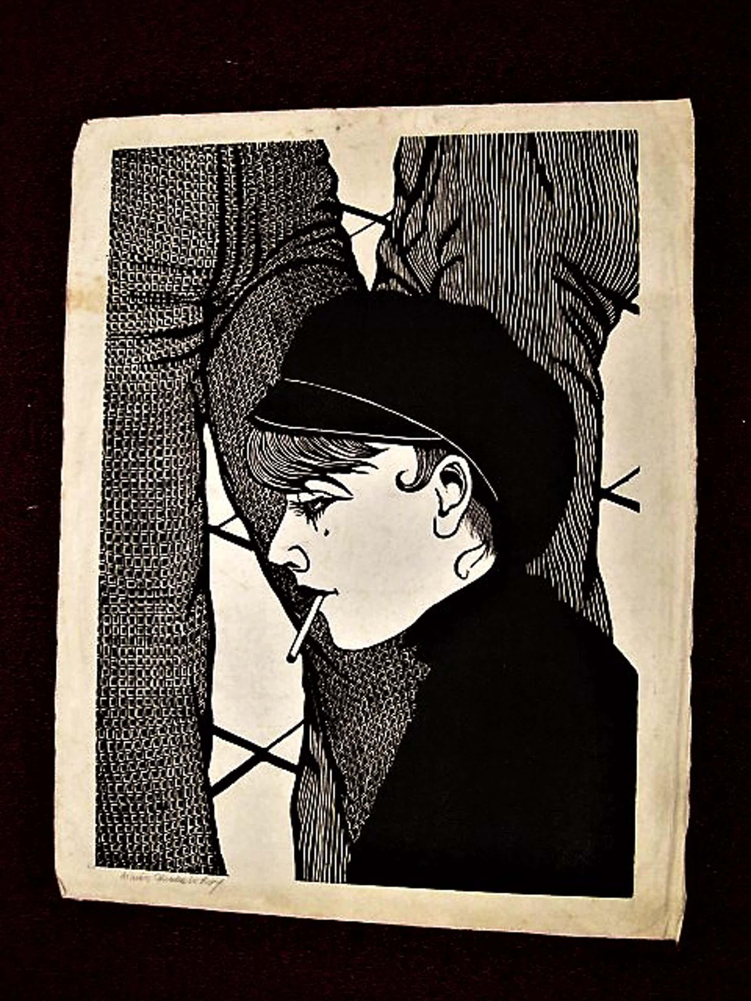 Aimee Crince le Roy - Grote karakteristieke jaren 70 Houtsnede -Dame met sigaret - gesigneerd kopen? Bied vanaf 35!