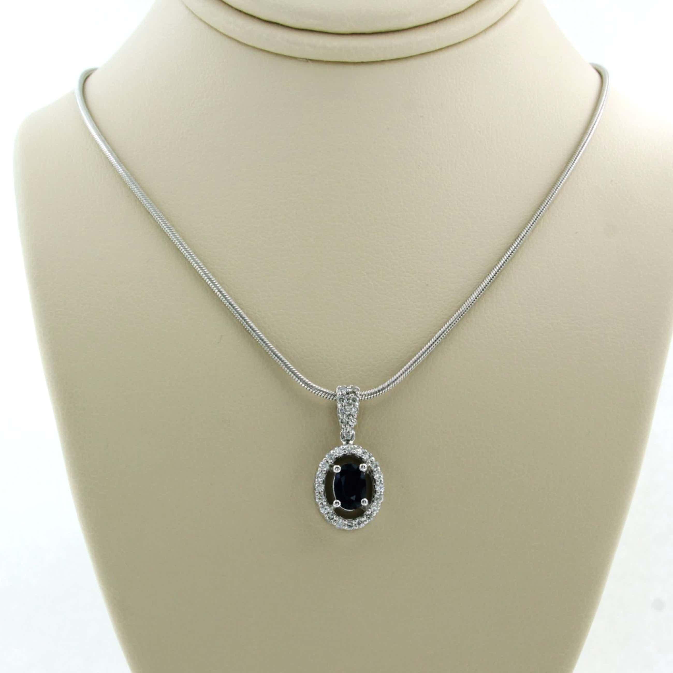 14K Goud - witgouden collier met hanger bezet met diamanten en saffier kopen? Bied vanaf 440!