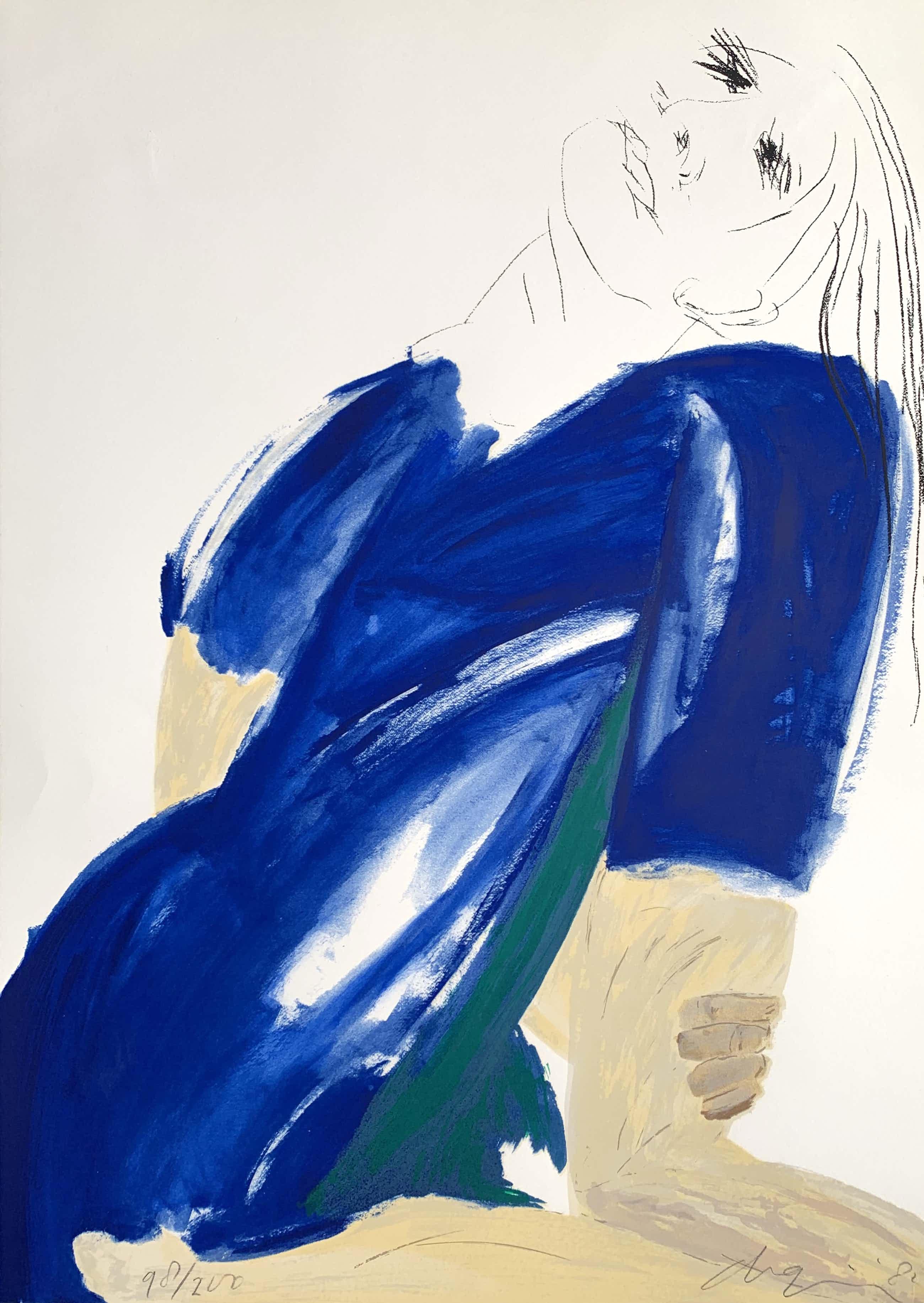 Jacqueline de Jong - kleurenlitho   'Vrouw in blauw'   1982 kopen? Bied vanaf 180!