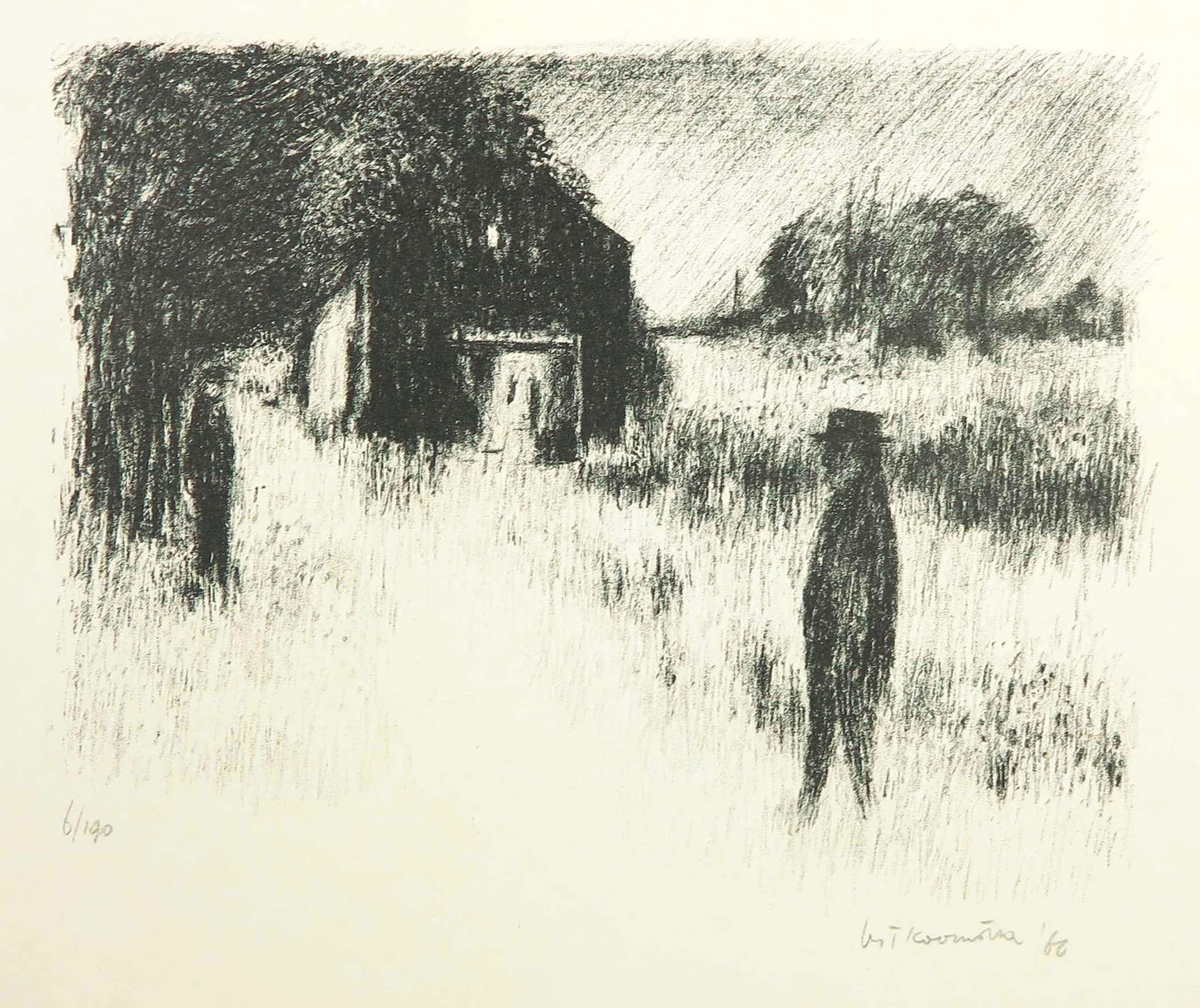 Metten Koornstra - Litho, Twee figuren in een duister landschap kopen? Bied vanaf 50!