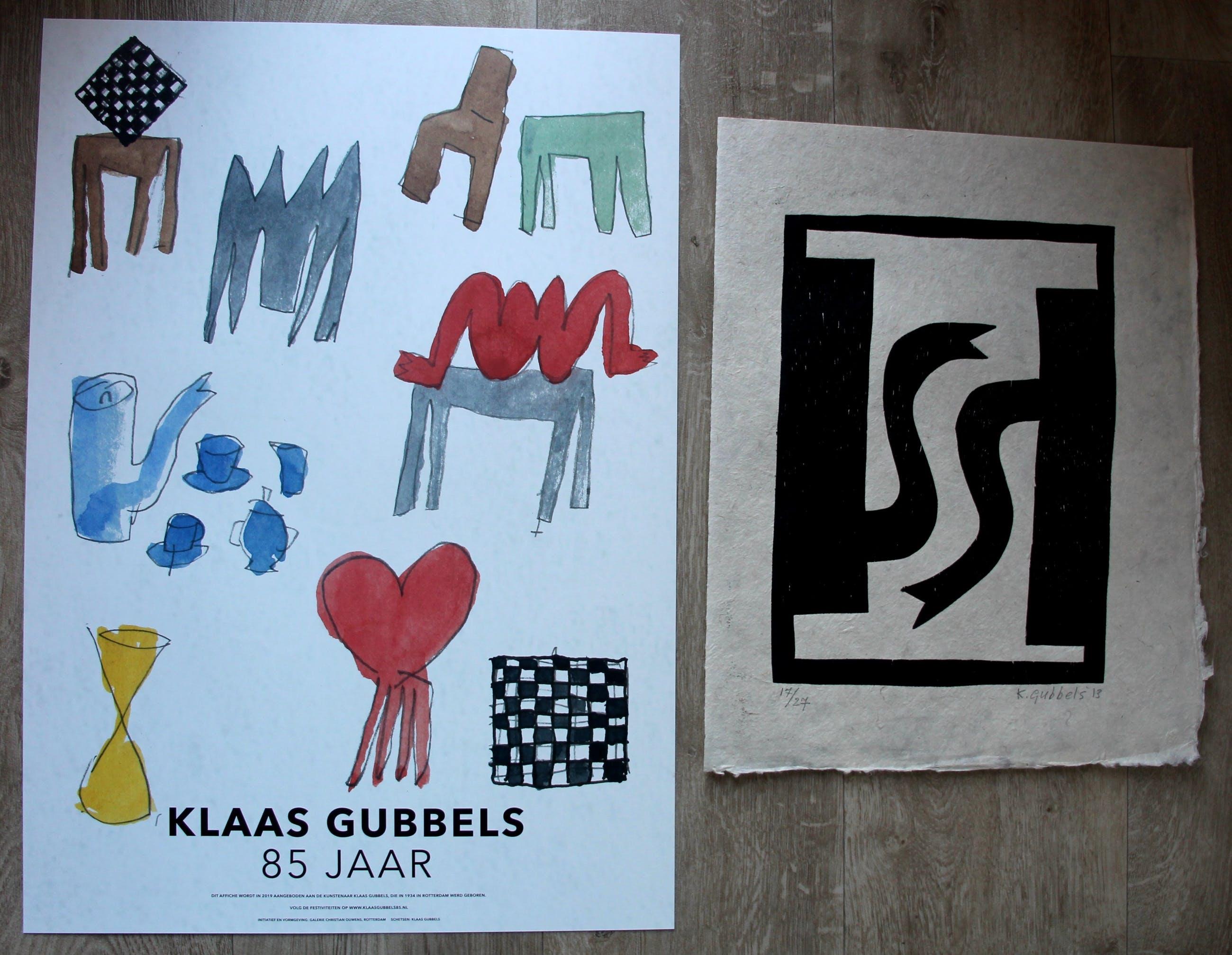 Klaas Gubbels - Houtsnede: Zwarte kannen + gratis affiche Gubbels 85 jaar - 2013 kopen? Bied vanaf 295!