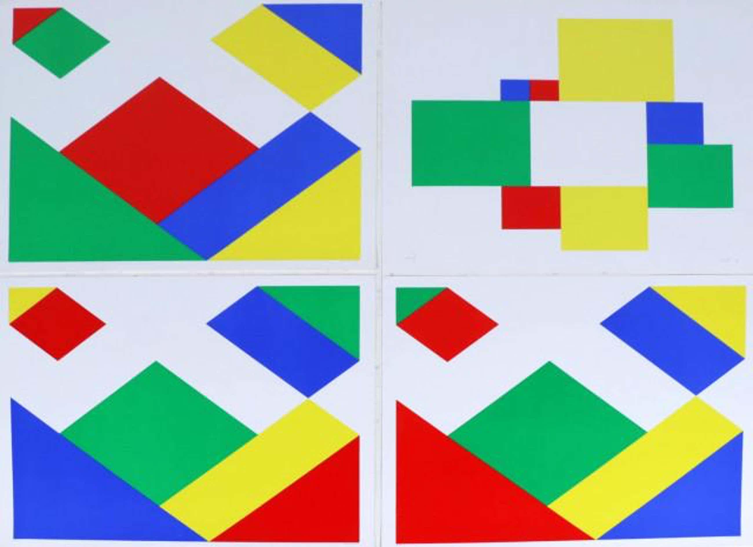 Bob Bonies - vier geometrische compositie's - lot van vier stuks kopen? Bied vanaf 250!