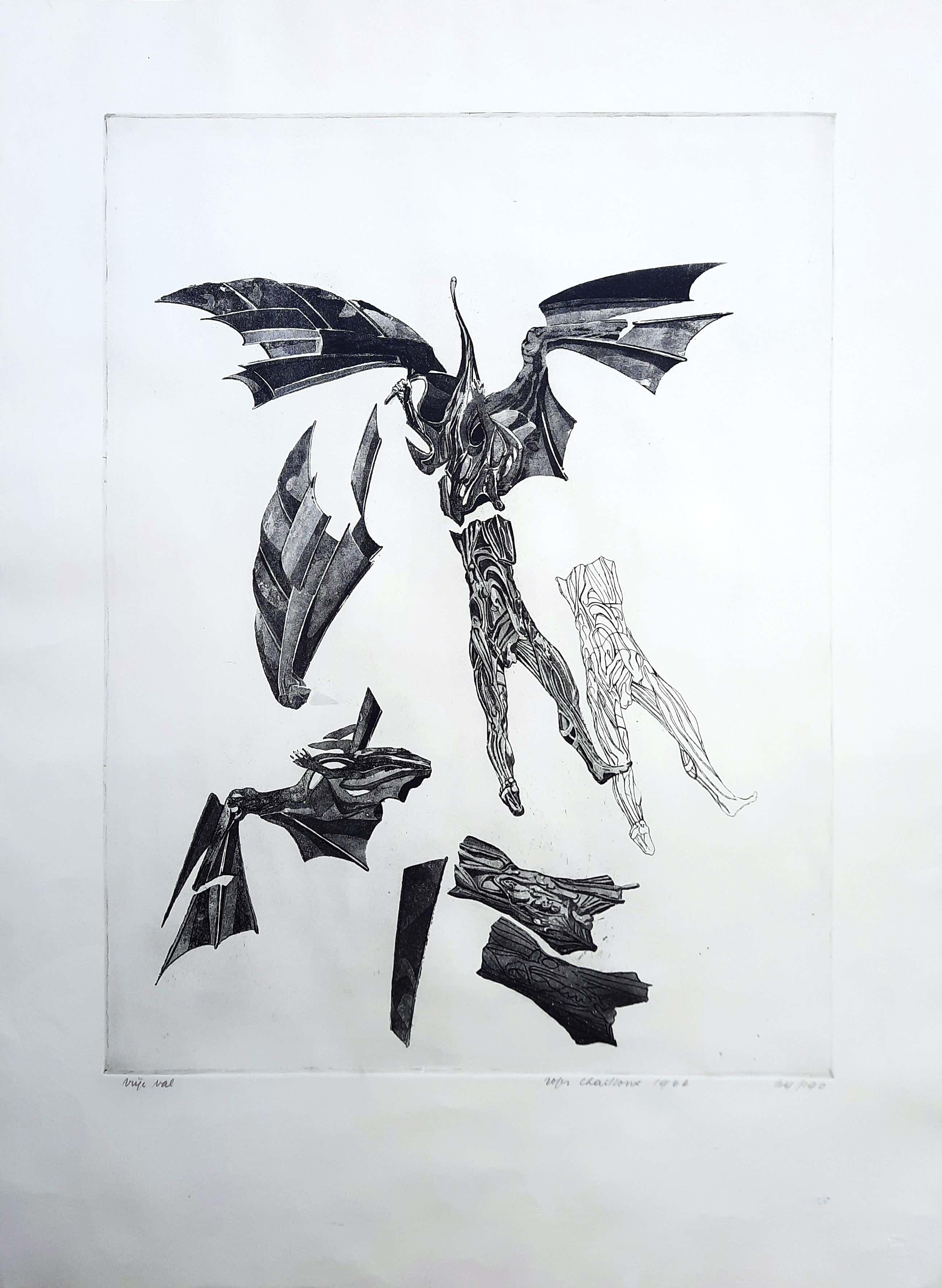Roger Chailloux - aquatint - Vrij Val (van Icarus?) - Prent 190 - 21917 kopen? Bied vanaf 1!