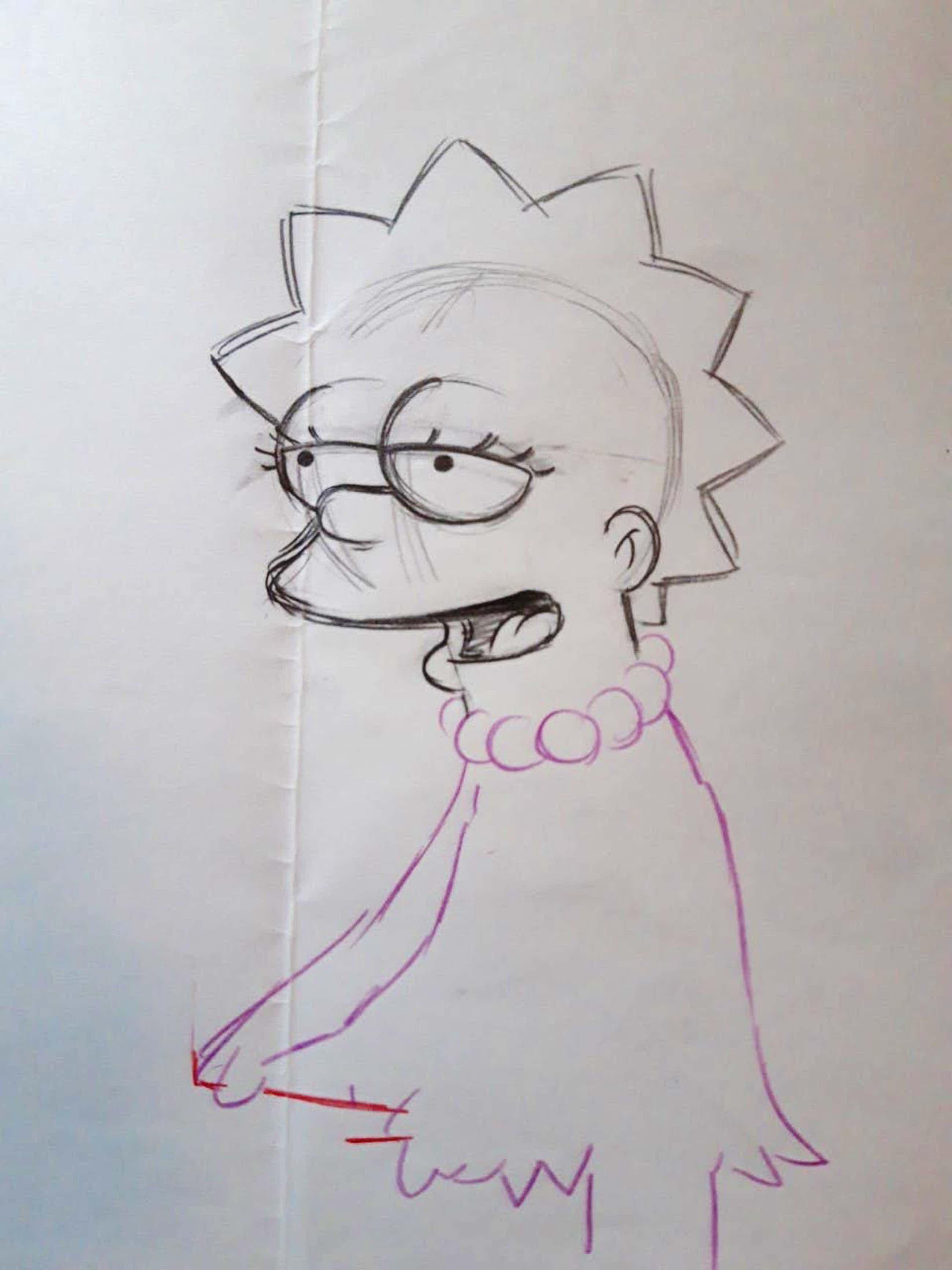 Matt Groening - originele productie tekening, The Simpsons, Lisa, ingelijst kopen? Bied vanaf 70!