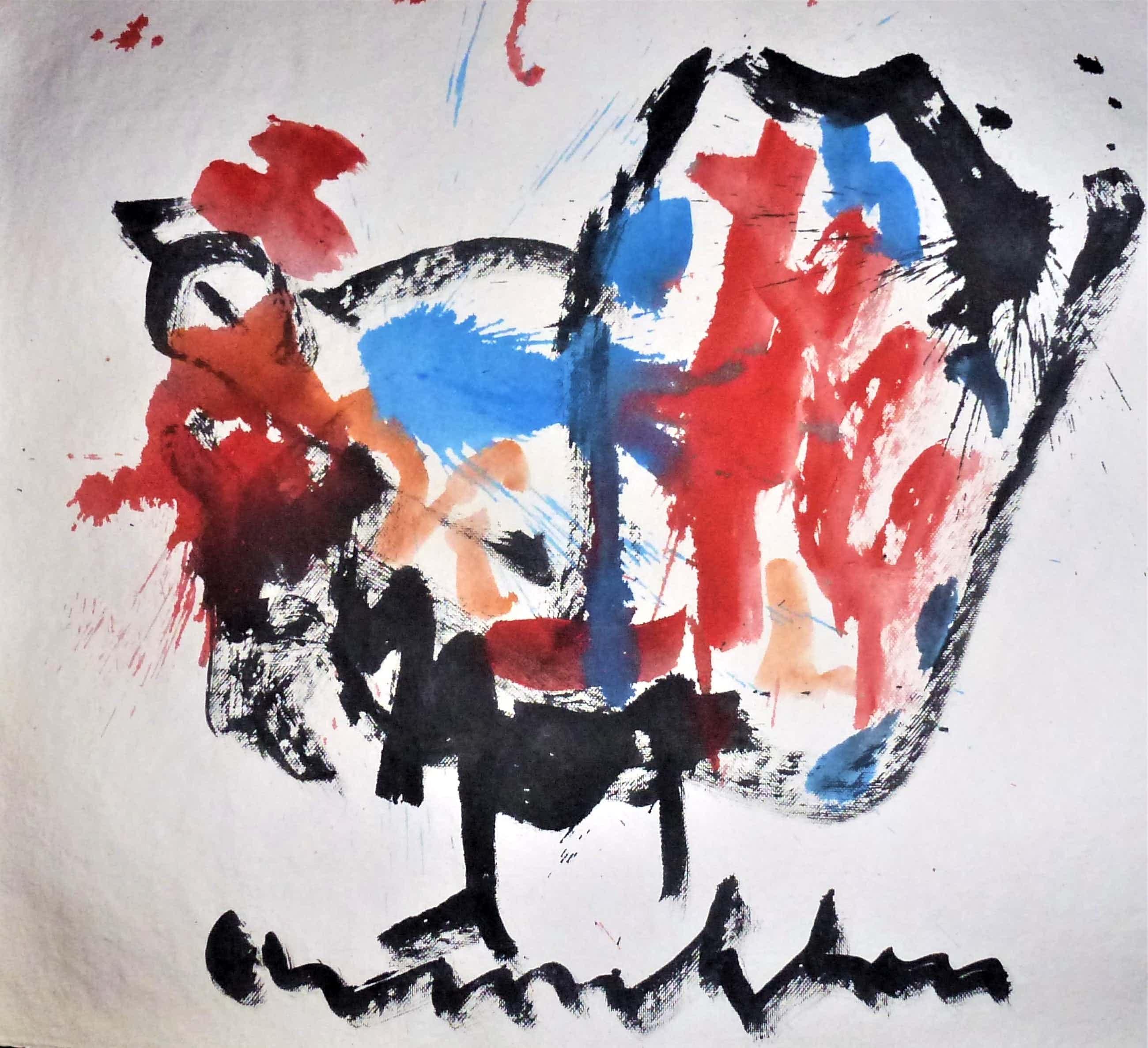 Anton Heyboer - De oervogel .Mooie krachtige sierlijke kleurige schildering . kopen? Bied vanaf 325!
