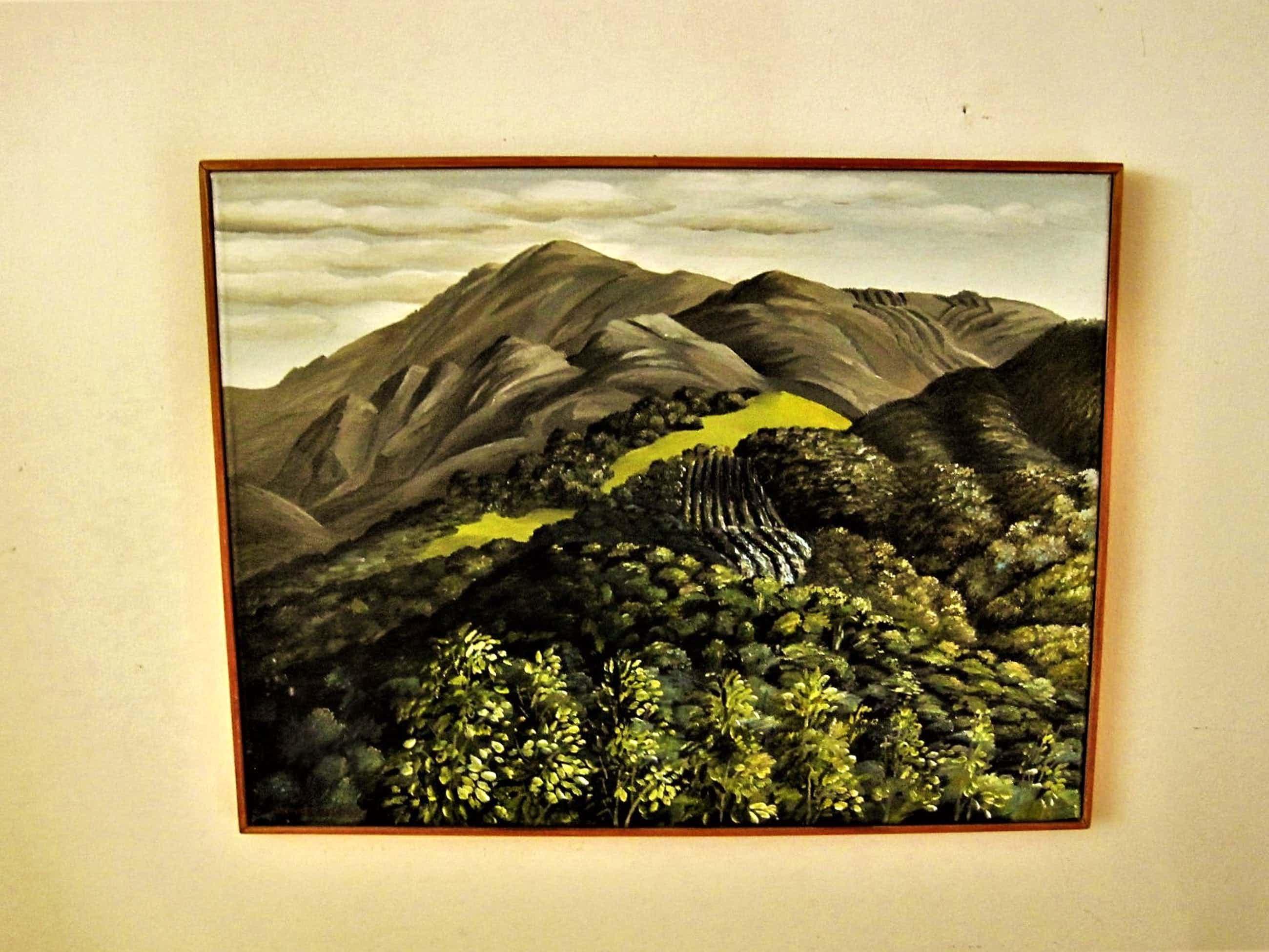 """Erna van Mondfrans - Verstild realistisch olieverf """"Montagne Aix En Provence Landschap"""" gesigneerd kopen? Bied vanaf 40!"""