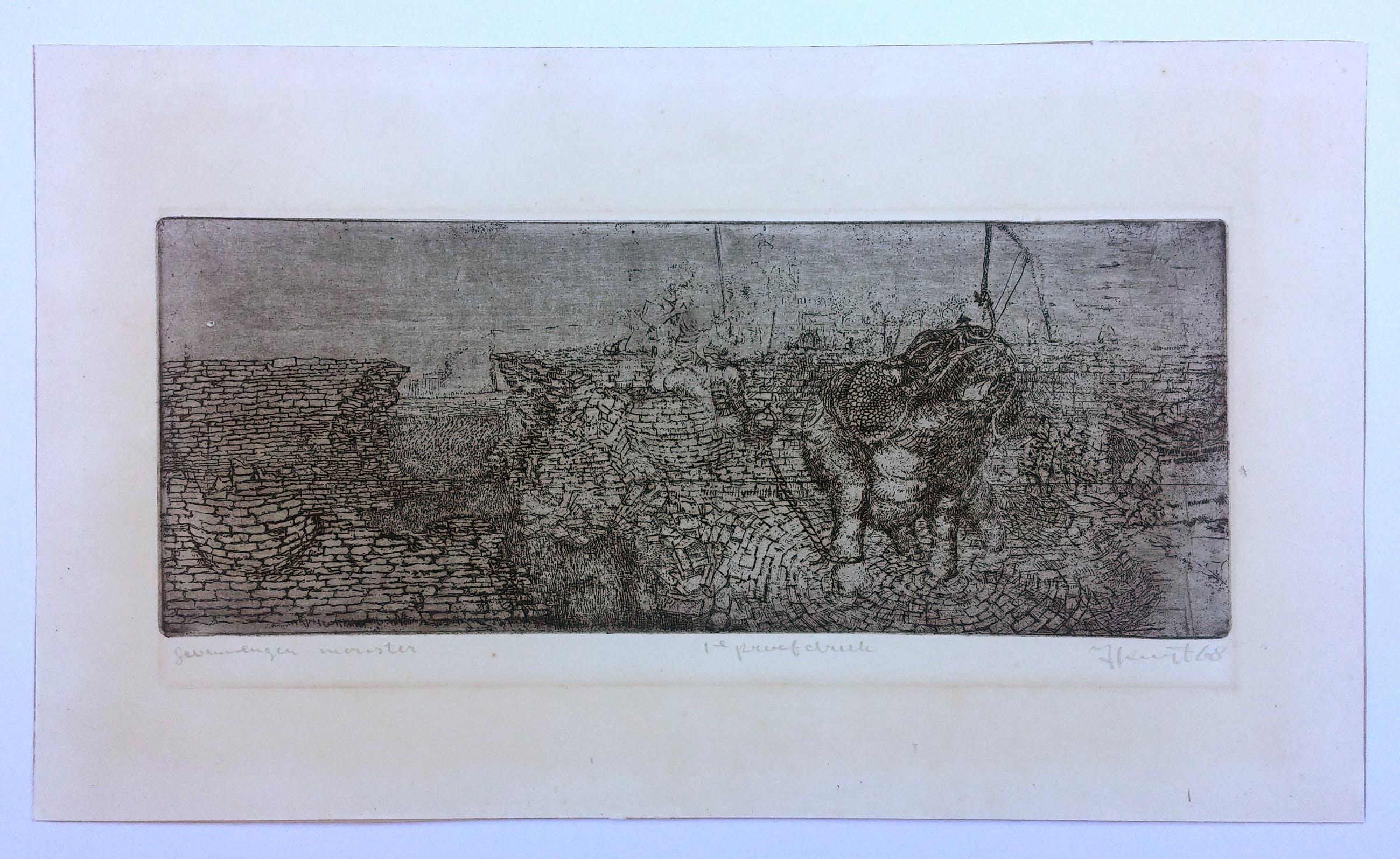 Hans Kuyt - Ets Gevangen Monster proefdruk 1968 kopen? Bied vanaf 50!