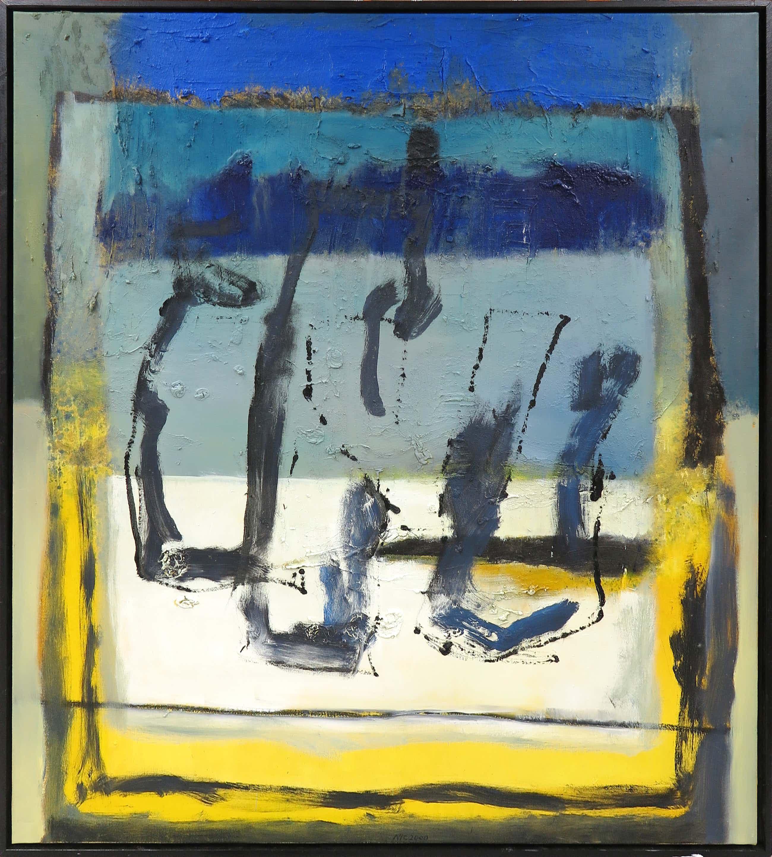 Frans Nicolai - Gemengde techniek op doek, Abstracte compositie - Ingelijst (Zeer groot) kopen? Bied vanaf 220!