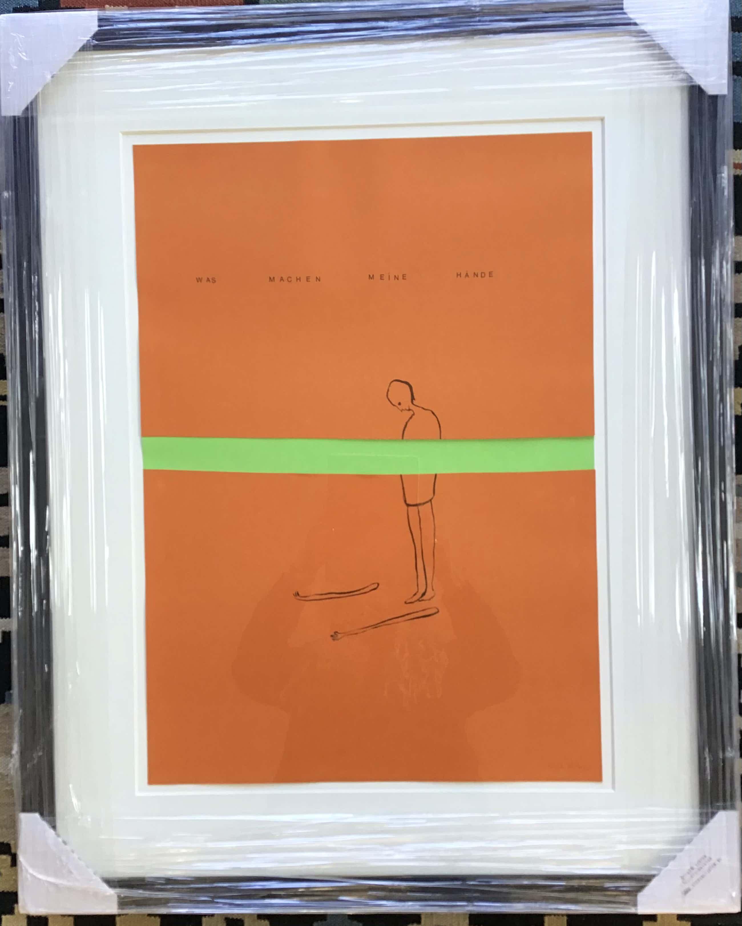 """Henk Visch - Litho/collage """"Was machen meine Hände.."""" gesigneerd en nieuw ingelijst kopen? Bied vanaf 125!"""