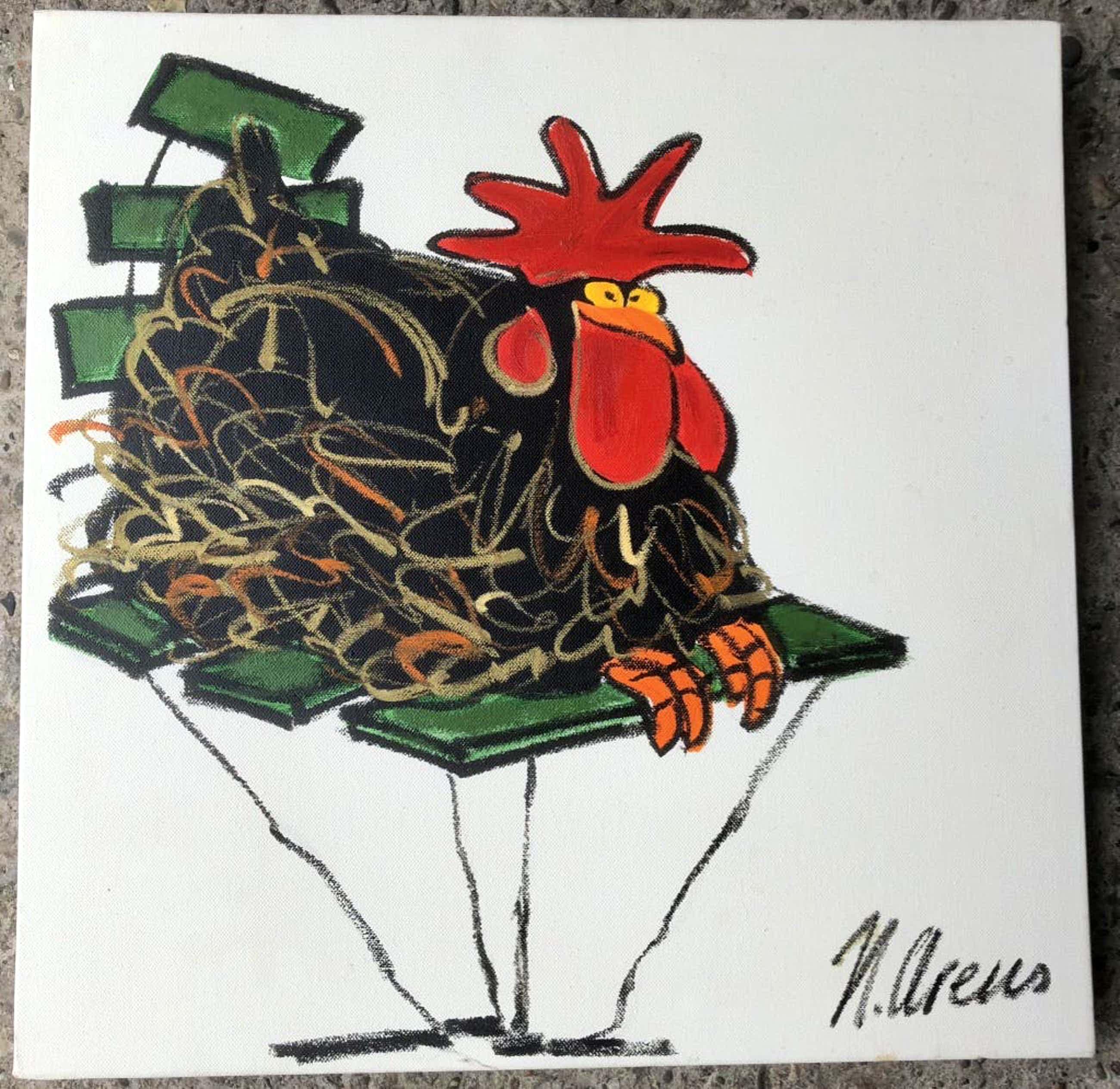 Nicolette Arens - Schilderij van Nicolette Arens - kippen serie kopen? Bied vanaf 50!