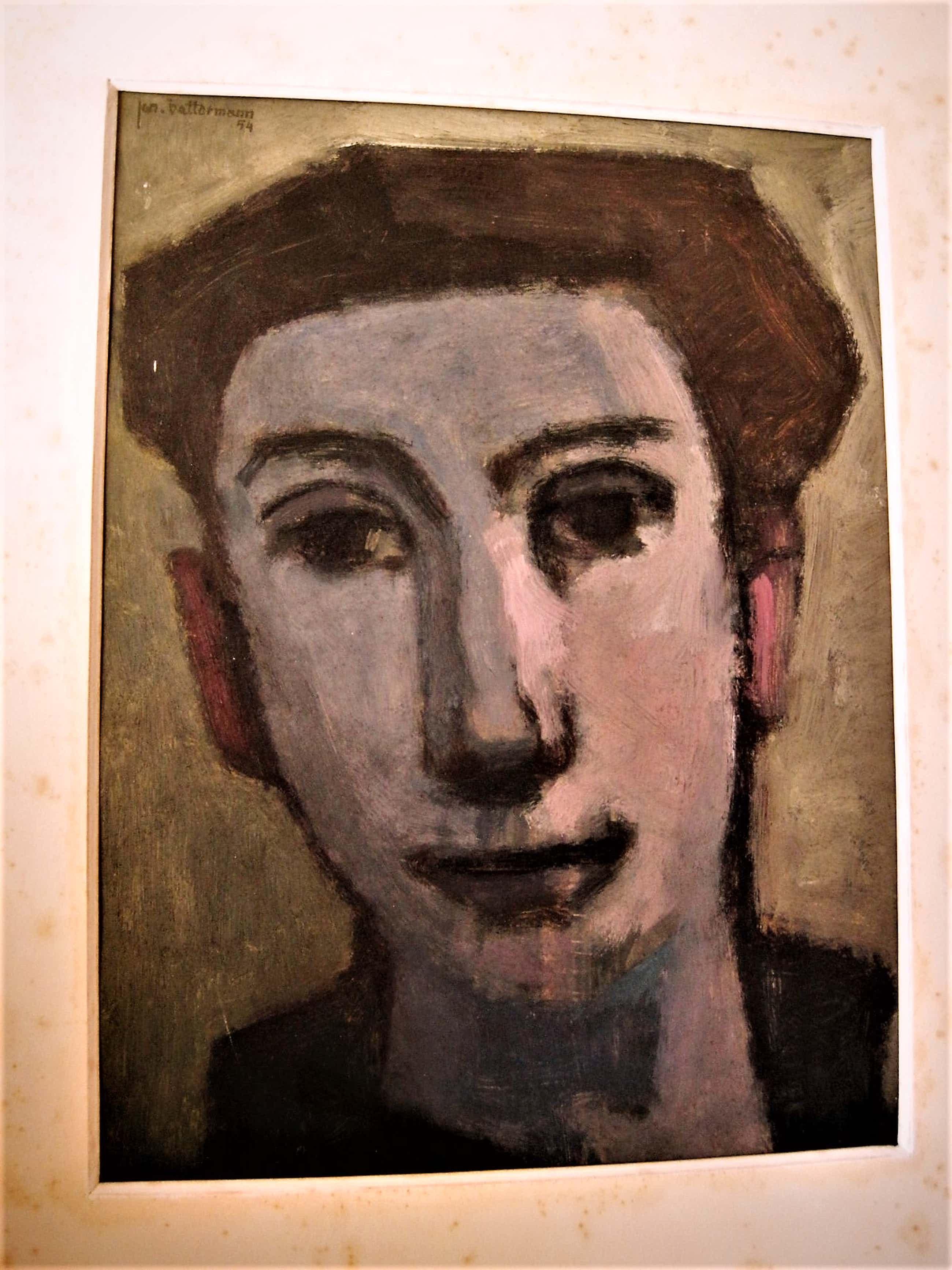 """Jan Battermann - Amsterdam 1954 -Ingetogen olieverf """"Zelfportret in avondsfeer"""" gesigneerd kopen? Bied vanaf 60!"""